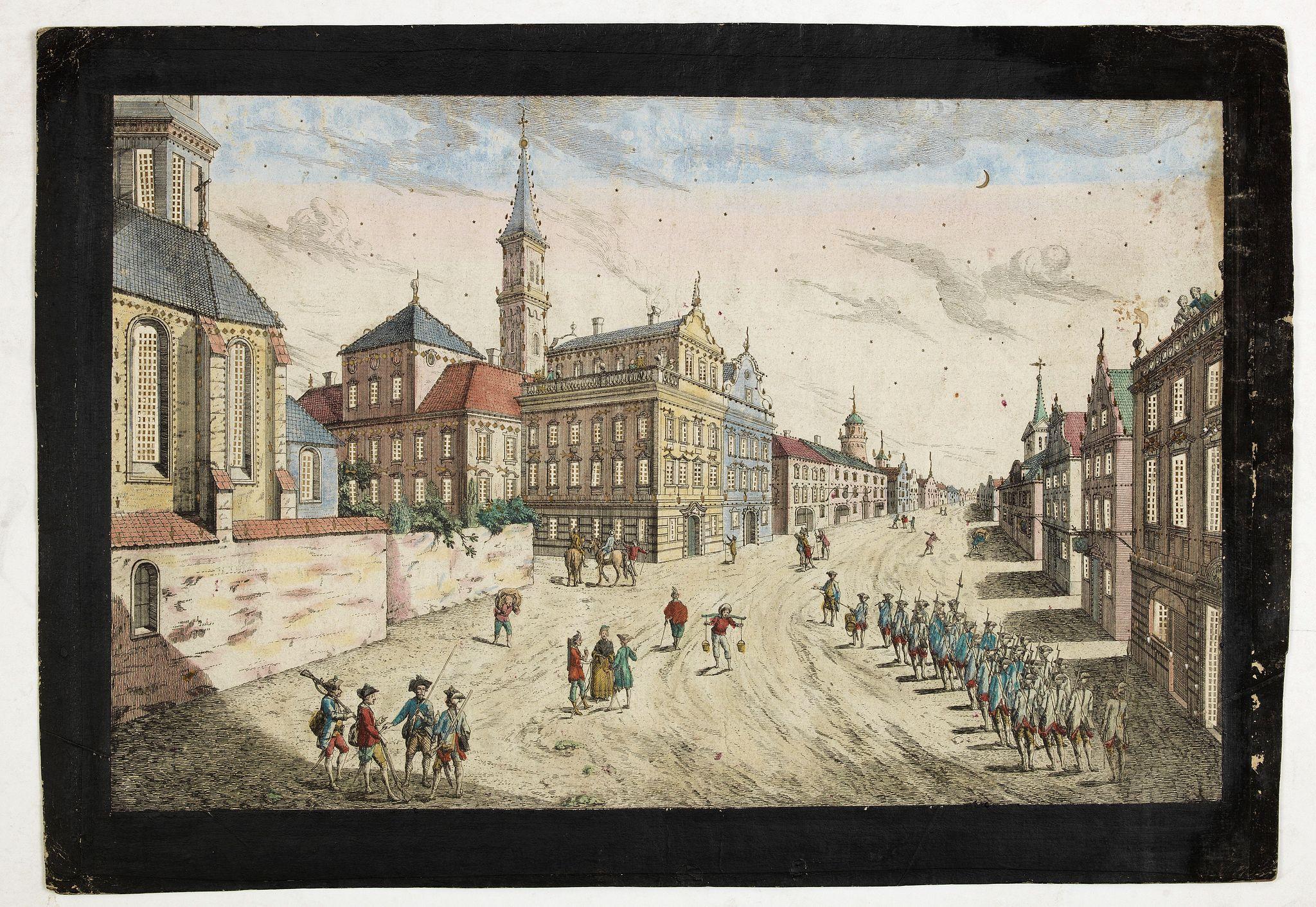ACADEMIE -  Prospect der Strasse gegen der Kirche der Recolecten in der obern Stadt zu Quebec. Vuë de la Rue des Recolets dans la haute Ville de Quebec.