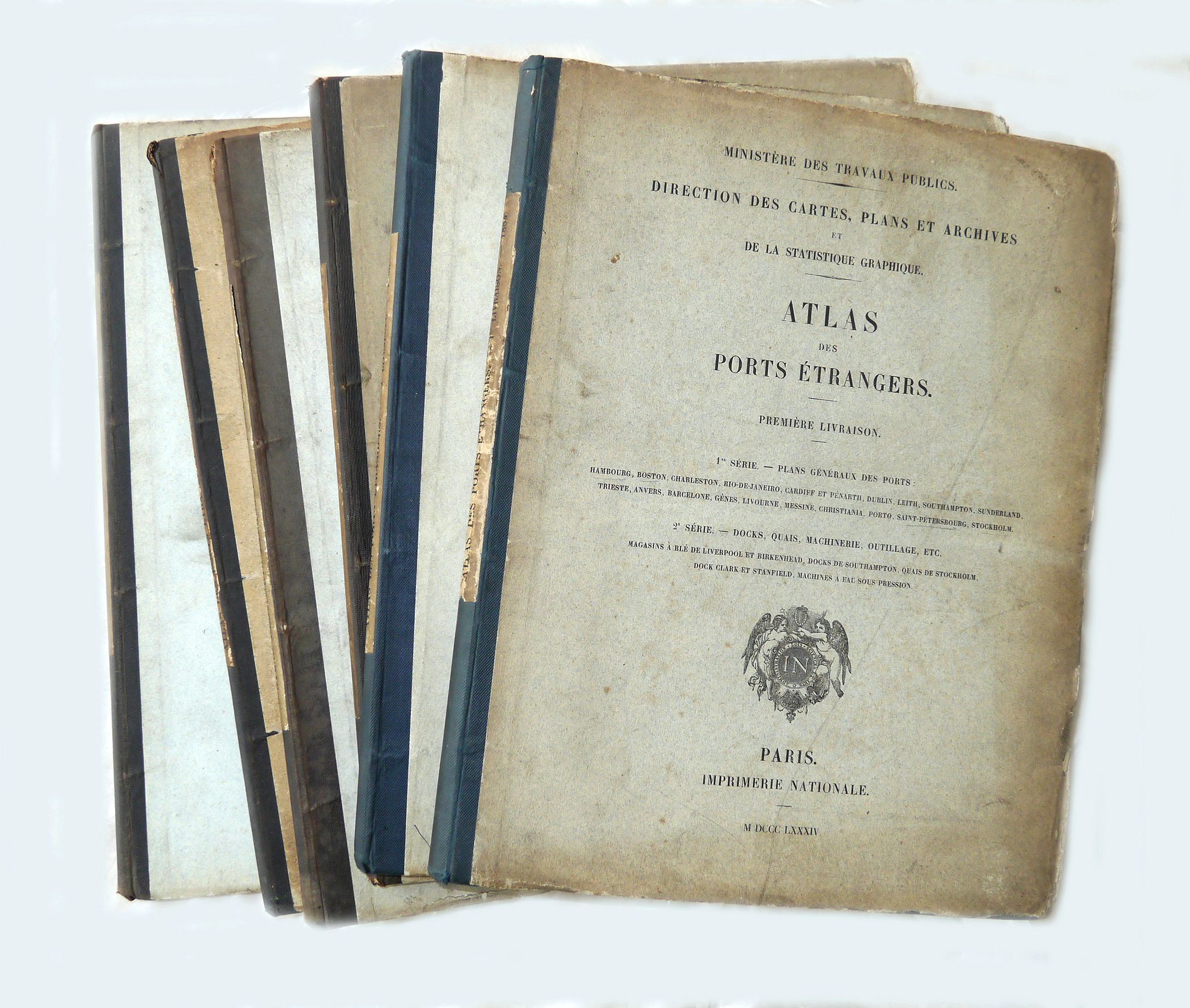 IMPRIMERIE NATIONALE - Atlas des ports étrangers. (Complete set of six volumes)
