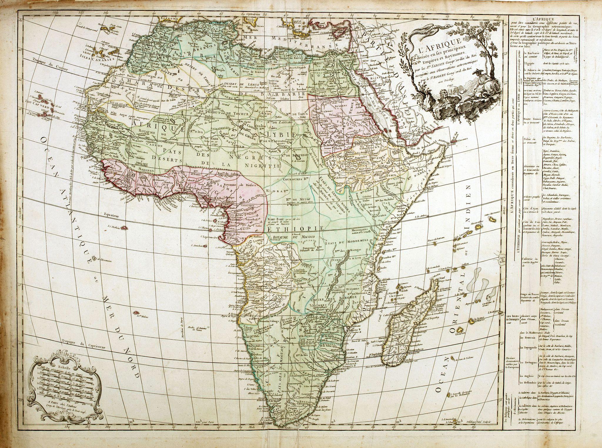 VAUGONDY, R. de -  L'Afrique divisé en ses principaux et Royaumes.