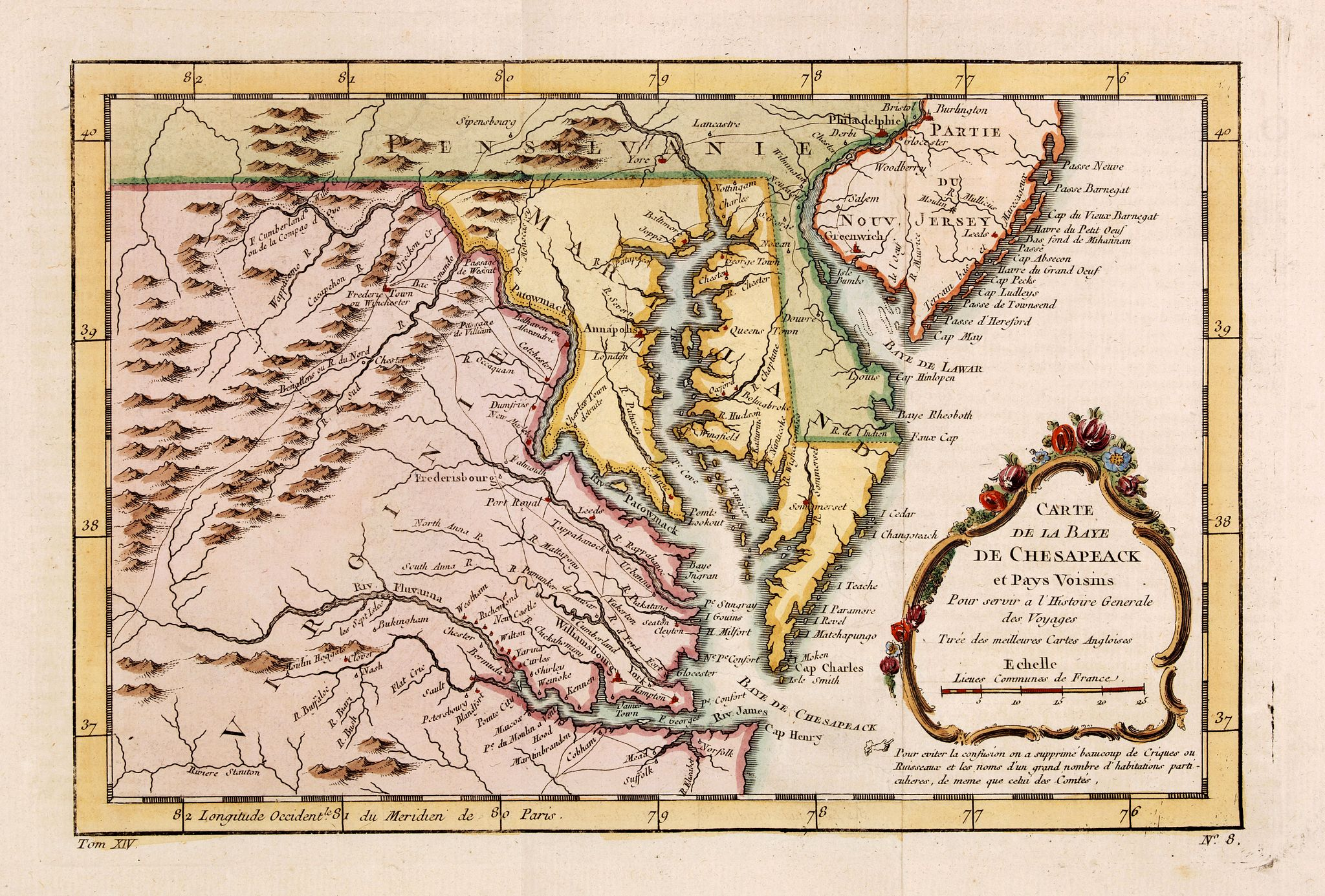 BELLIN, J.N. -  Carte de la Baye de Chesapeack et Pays Voisins. . .