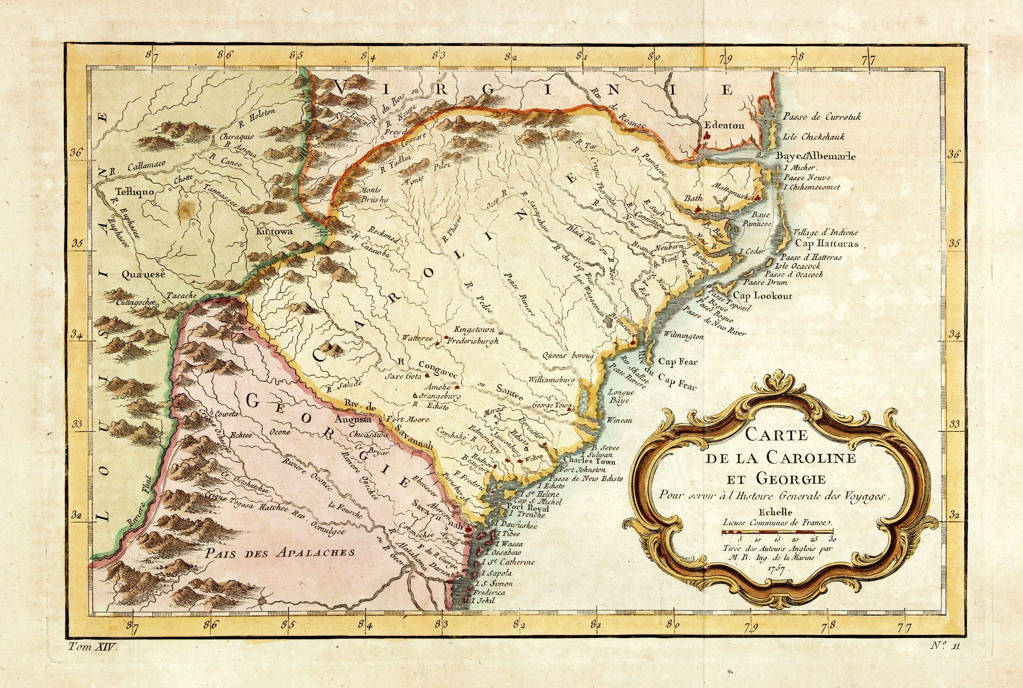 BELLIN, J.N. -  Carte de la Caroline et Georgie..