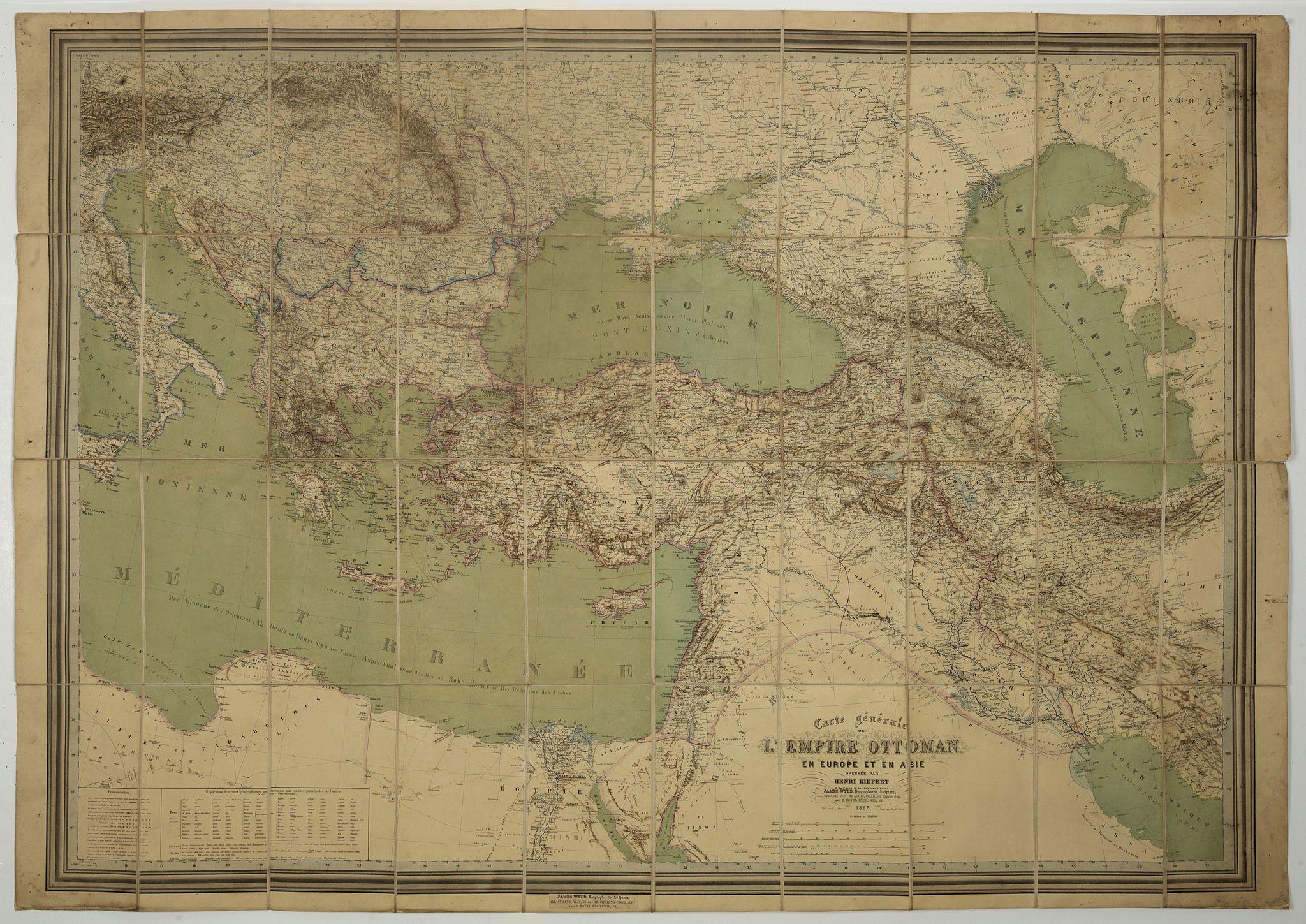 KIEPERT, H. -  Carte général de L'Empire Ottoman en Europe et en Asie. . .  dressée par Henri Kiepert.