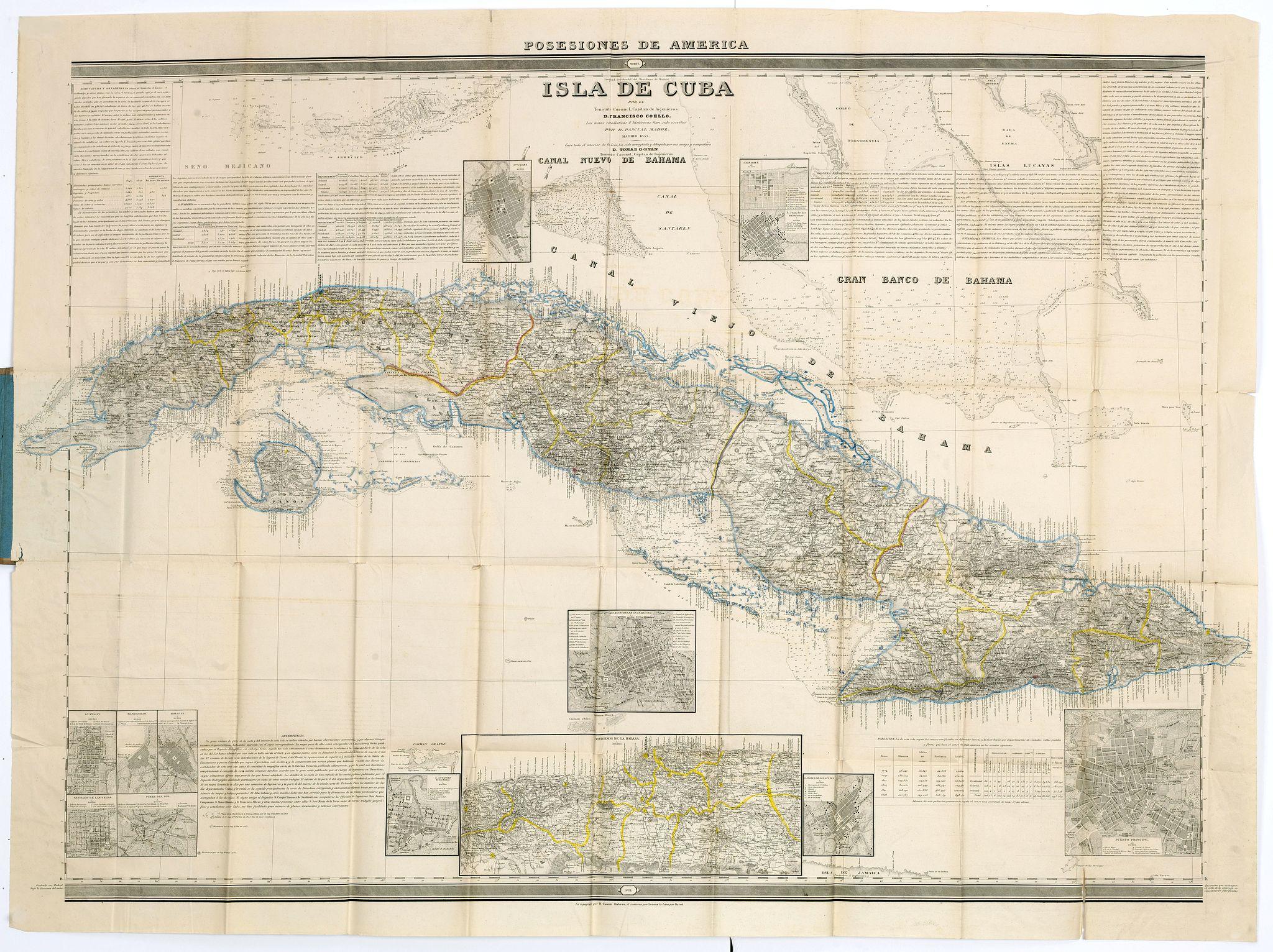 MADOZ, P. / COELLO, F. -  Posesiones de America : Isla de Cuba. . .
