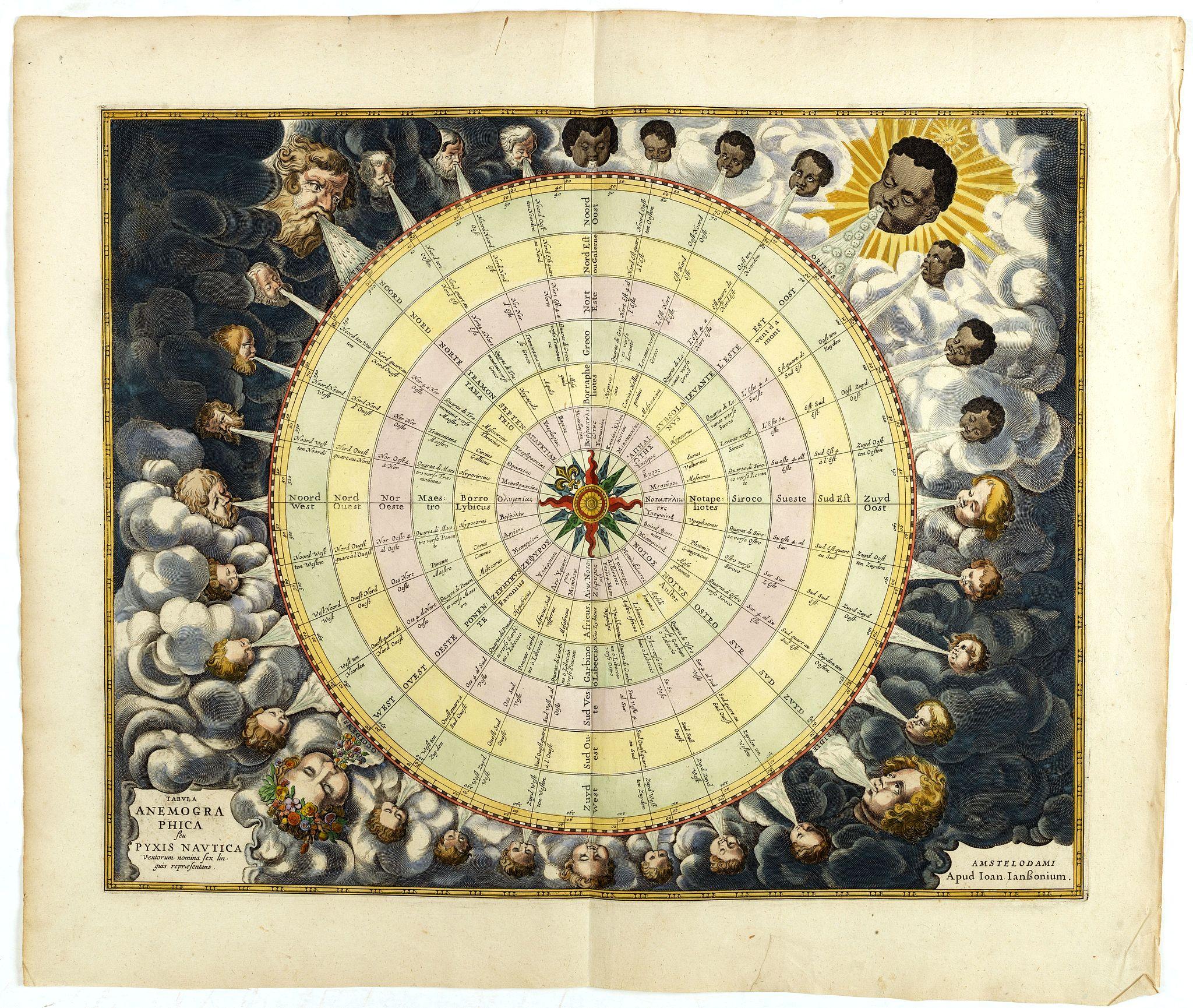 JANSSONIUS, J. -  Tabula Anemographica seu Pyxis Nautica.