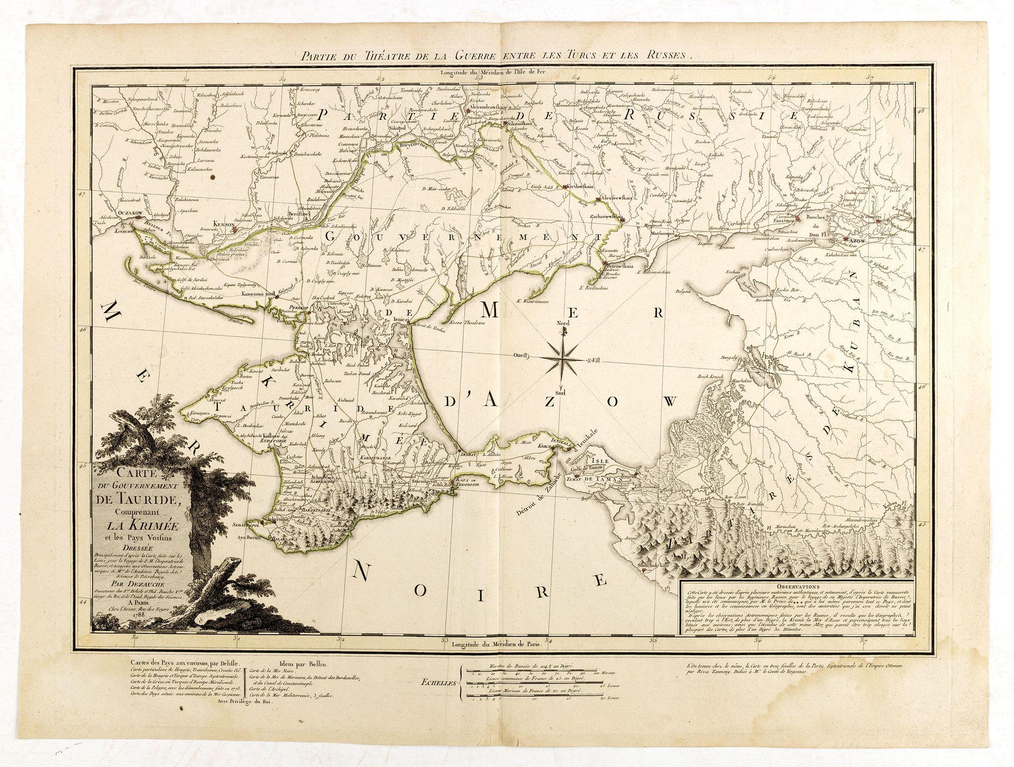 DEZAUCHE, J. C. -  Carte du Gouvernement de Tauride, comprenant la Krimée et les pays voisins: dressée principalement d'après la carte faite sur les lieux pour le voyage de S.M. l'impératrice de Russie. . .