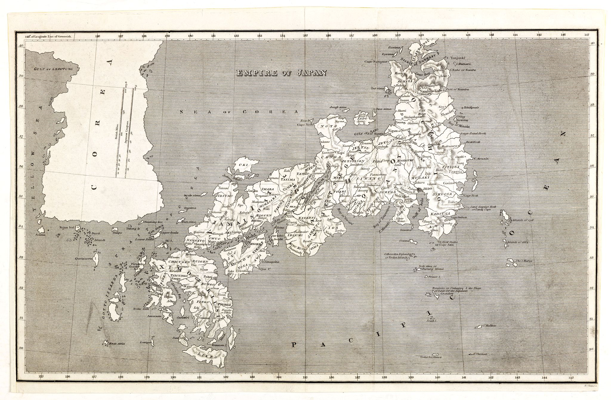 TANNER, H. S. /  ARROWSMITH, A.,  Empire of Japan. (with Korea), antique map, old maps