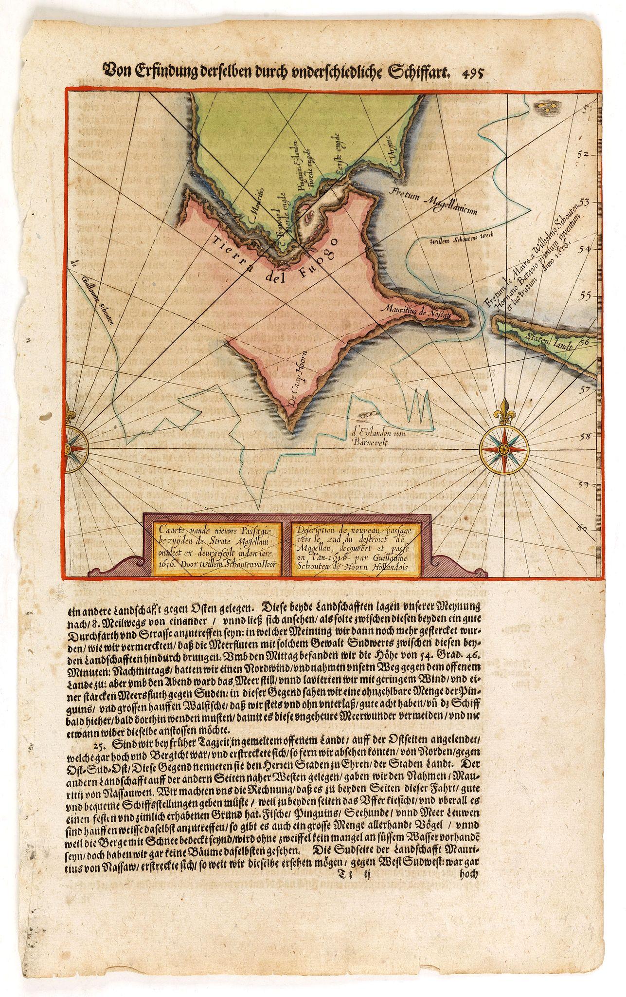 DE BRY, T. -  Caarte vande nieuwe Passagie bezuijden de Strate Magellan. . . / Description de nouveau passage vers le zud du destroit de Maggellan. . .