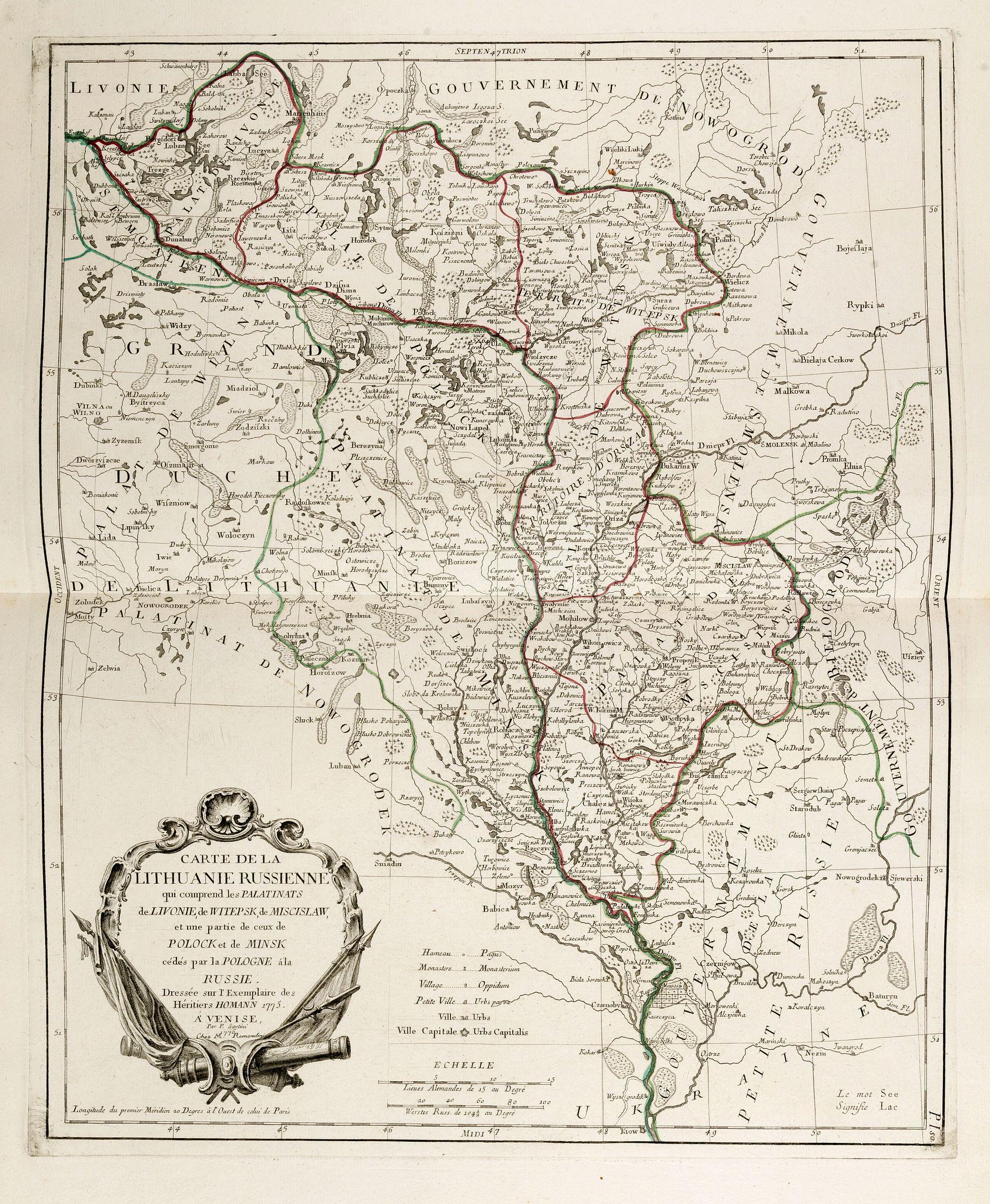 SANTINI, P. / REMONDINI, M. -  Carte de la Lithuanie Russienne qui comprend les Palatinats de Livonie, de Witepsk, de Miscislaw, et une partie de ceux de Polock et de Minsk cédés par la Pologne à la Russie. Dressée sur l'Exemplaire des Héritiers Homann 1775.