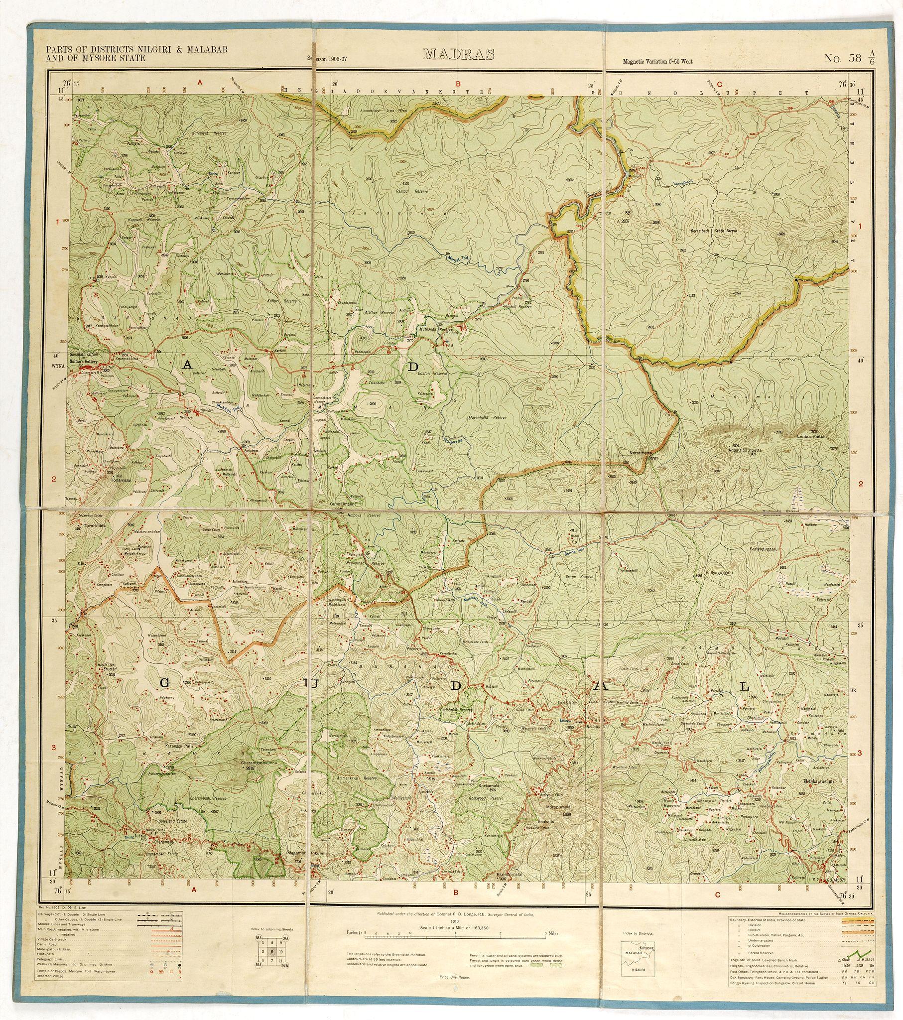 SURVEY OF INDIA LONGE - Part of district Nilgiris and Malabar and of on delhi map, mangalore map, karnataka map, biratnagar map, munnar map, dhar city map, anjuna beach map, bombay map, madras map, agumbe map, bengal map, hyderabad map, satpura map, bangalore map, kerala map, kashmir map, india map, tamil nadu map, chennai international airport map, calcutta world map,
