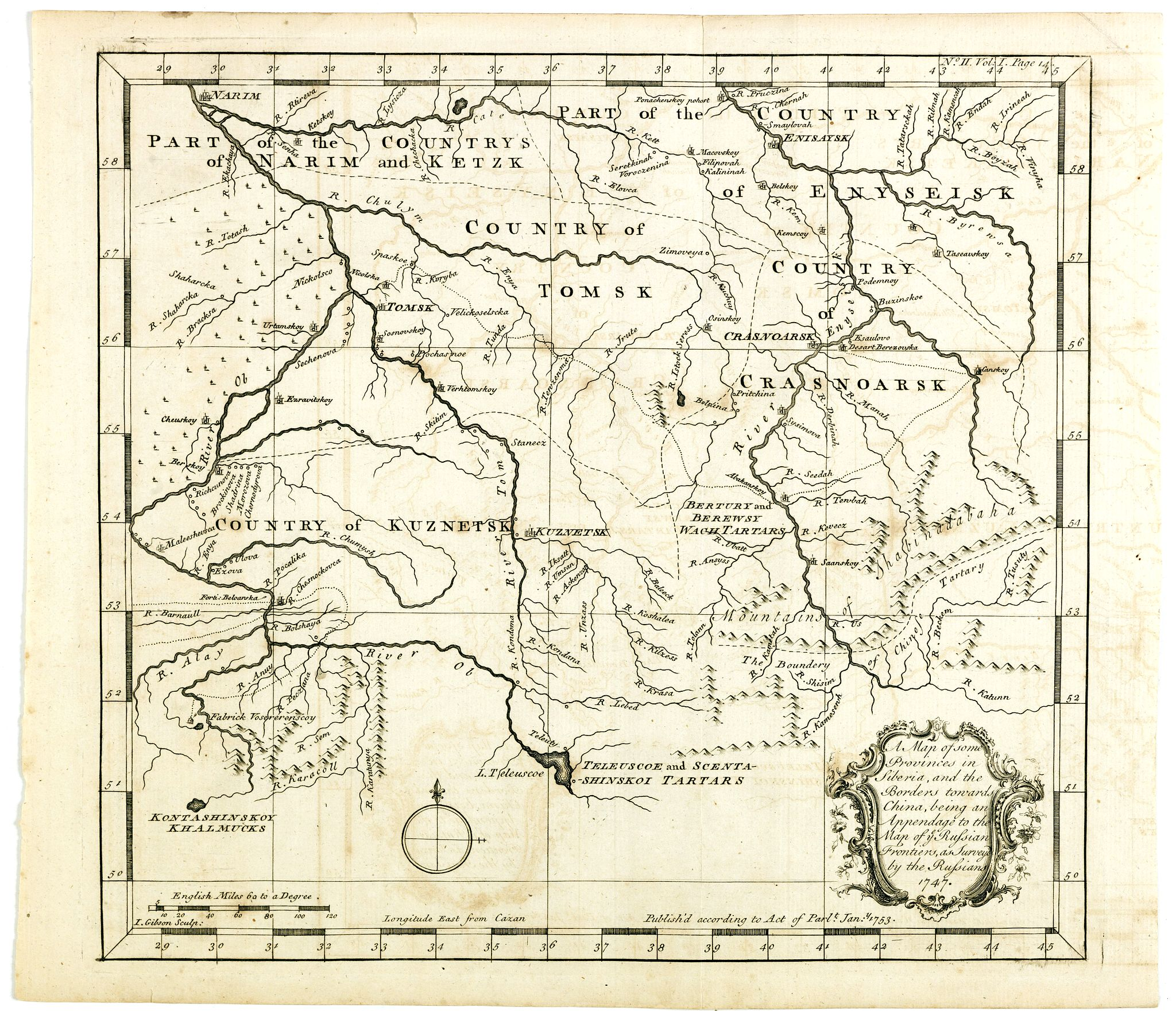 GIBSON, J. -  A map of some Provinces in Siberia, and the Borders toward China. . .