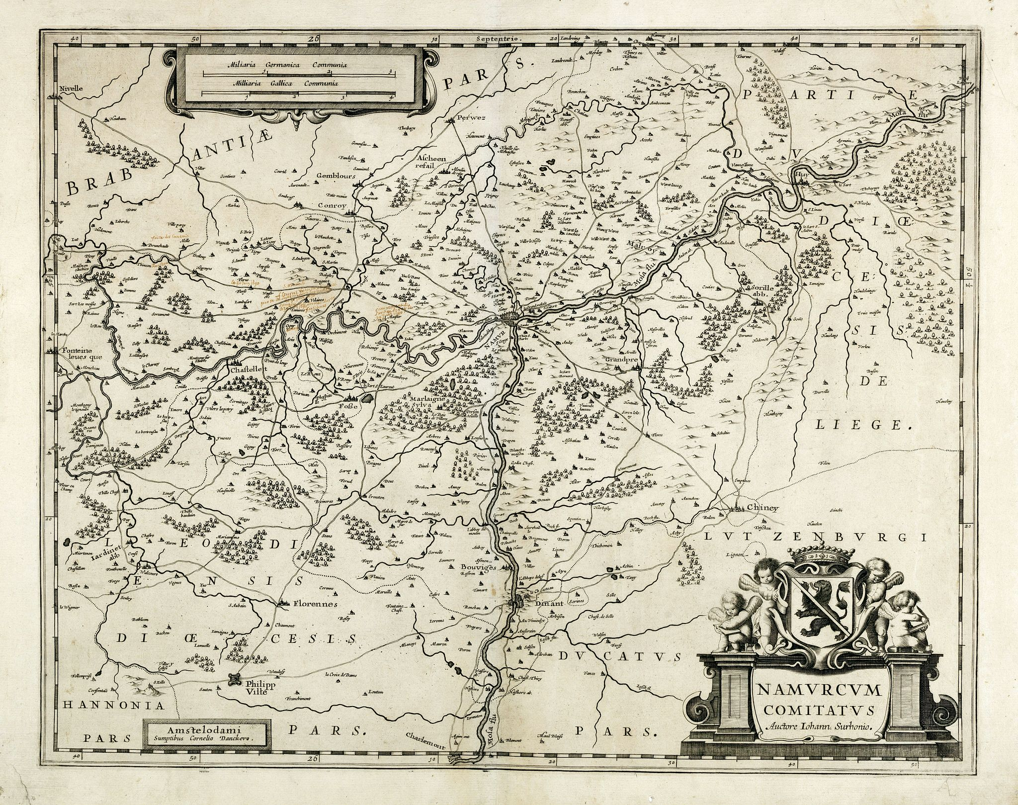 DANCKERTS, C.,  Namurcum comitatus., antique map, old maps