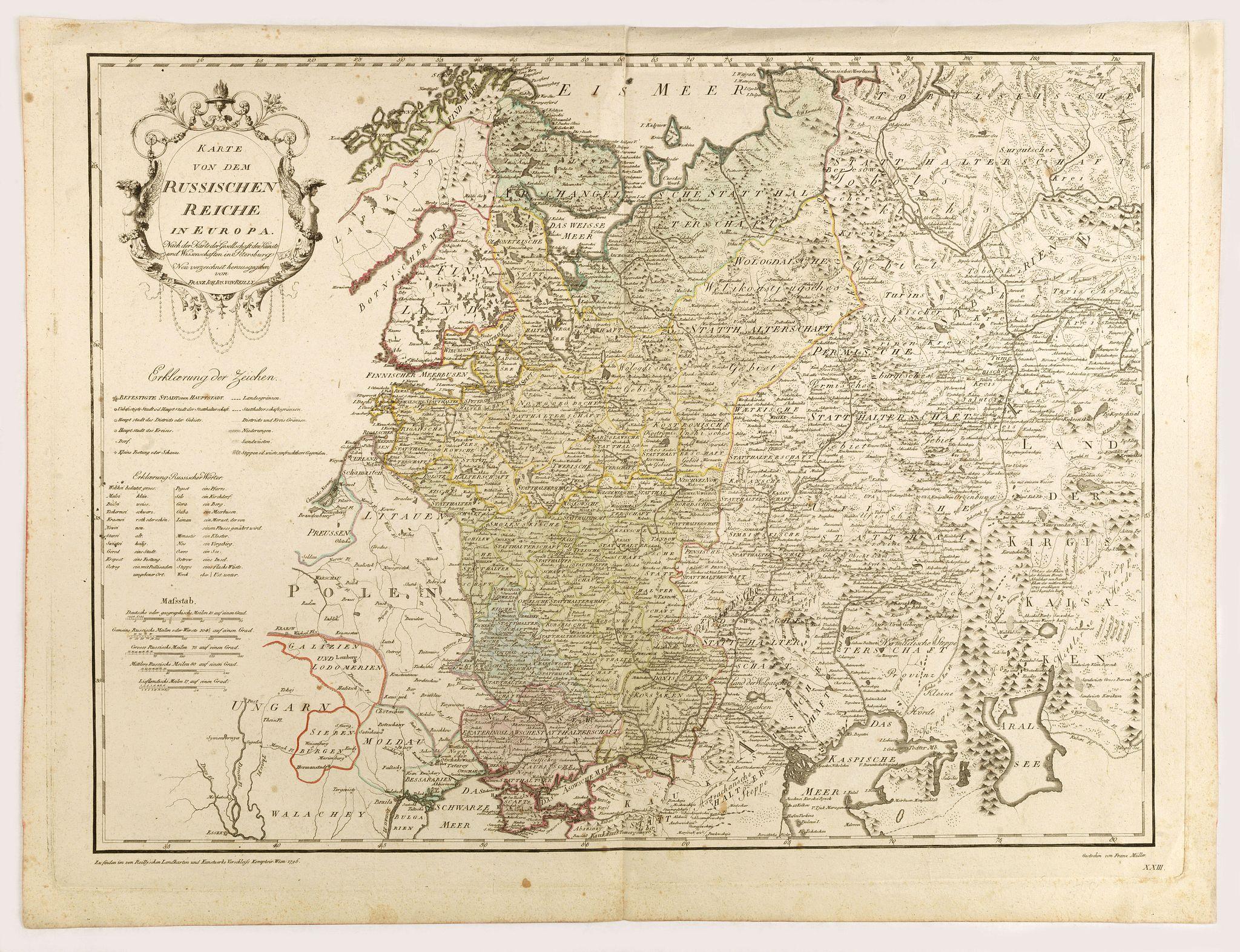 VON REILLY, F.J.J. -  Karte von dem Russischen Reiche in Europa . . .