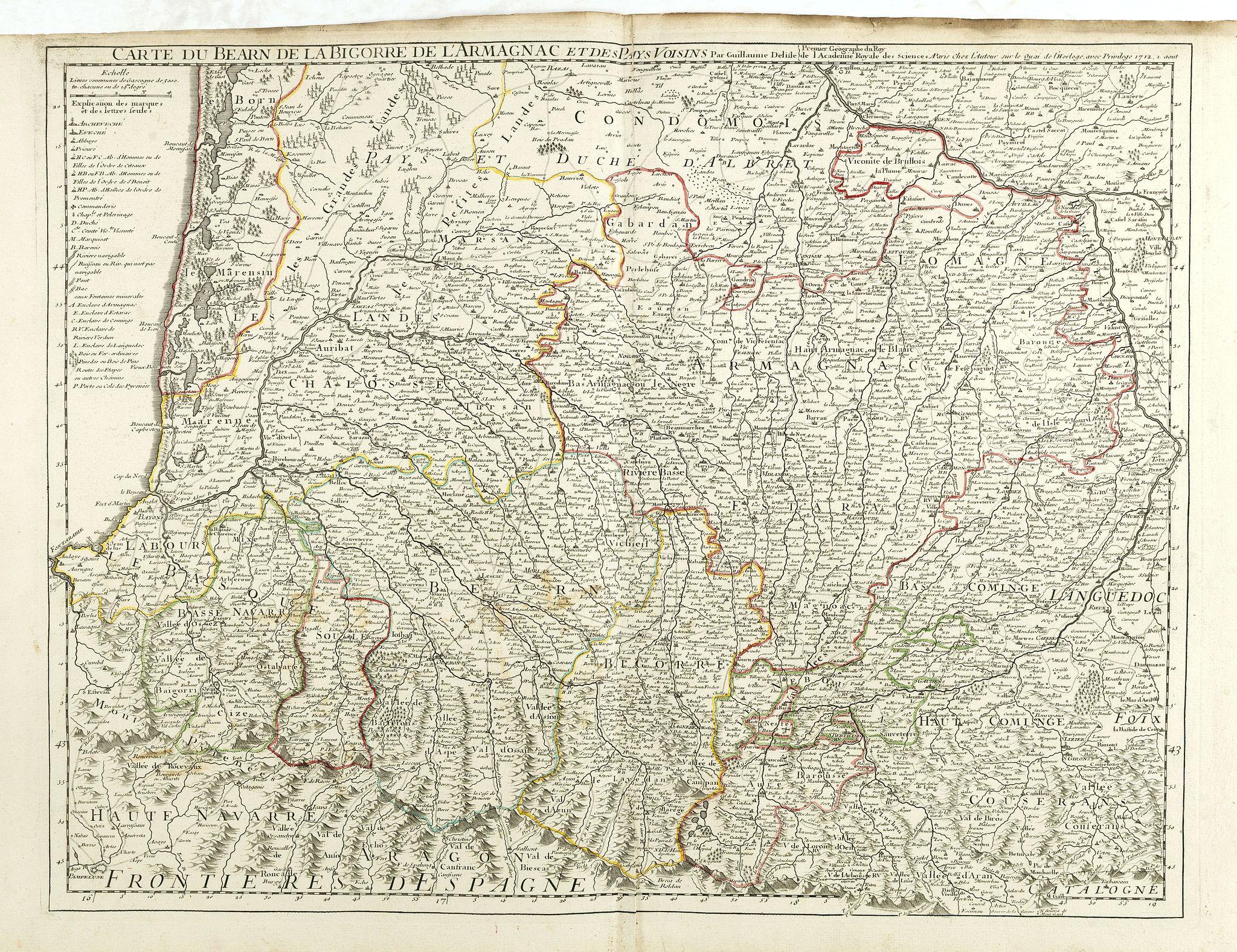 DE L'ISLE, G. -  Carte du Bearn de la Bigorre de l'Armagnac. . .