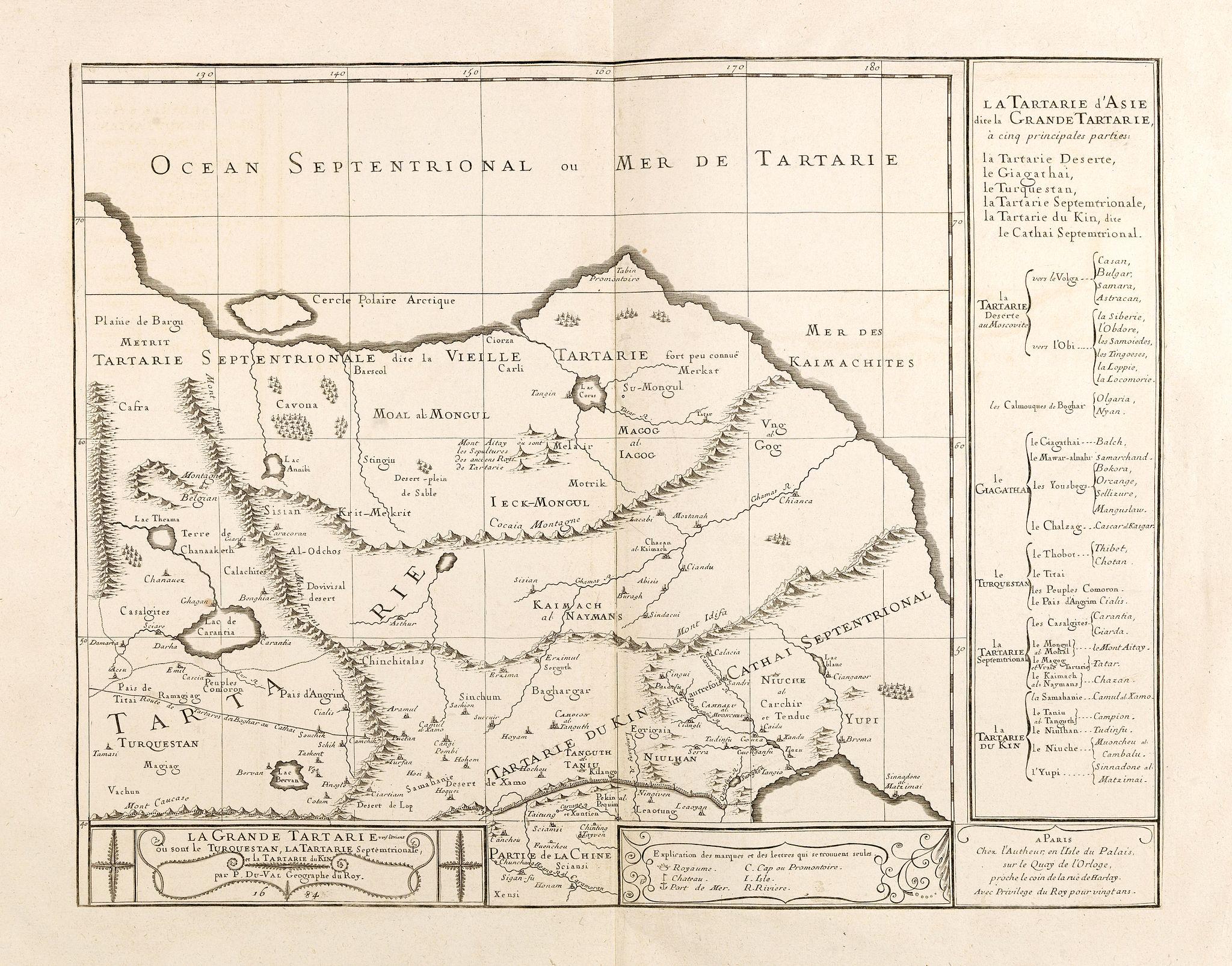 DU VAL, P. -  Grande Tartarie vers l'orient où sont le Turquestan, la Tartarie septentrionale, et la Tartarie du Kin. . .