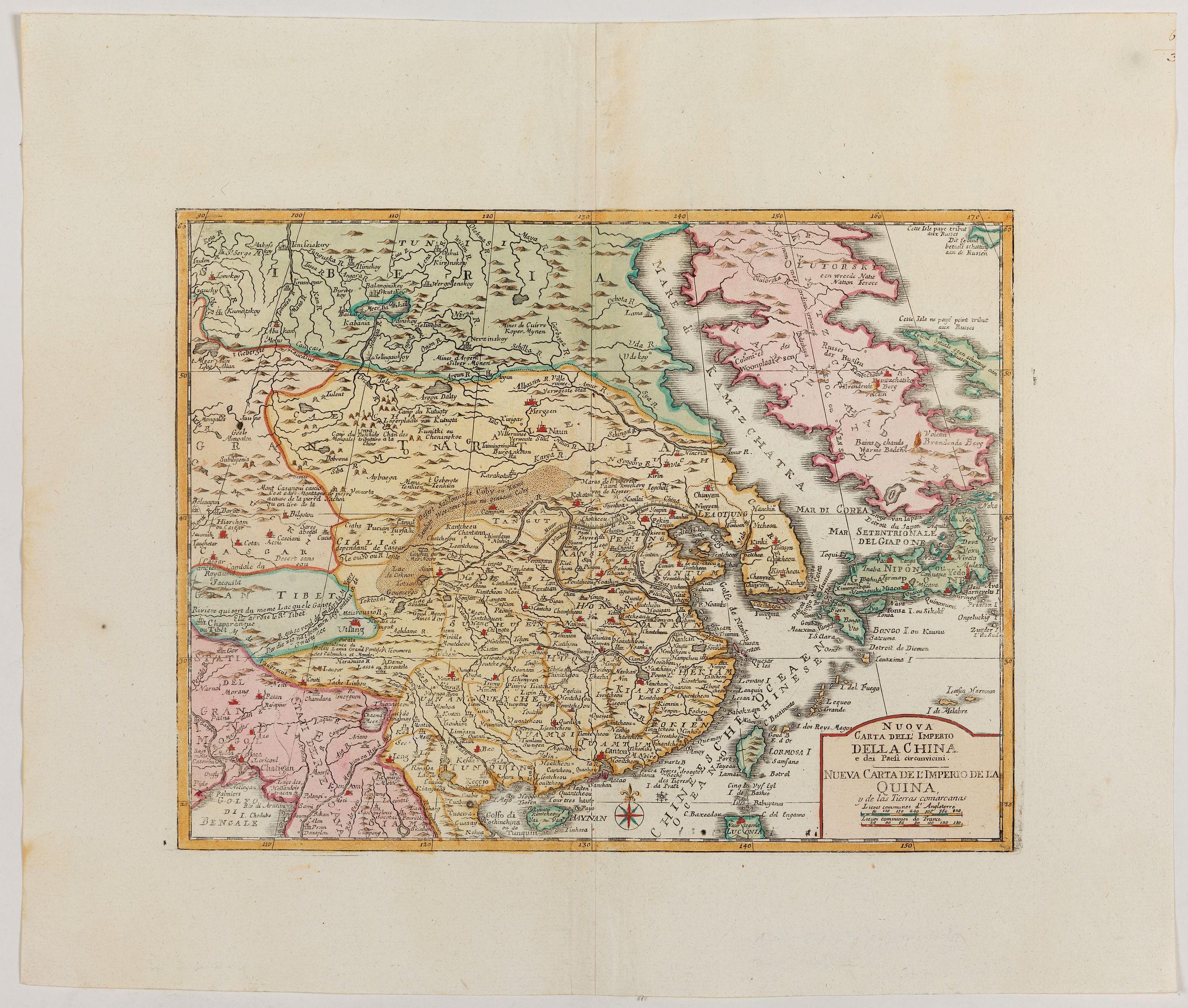 ALBRIZZI, G. -  Nuova carta dell' Imperio della Chia e dei Paesi circonvicini. / Nueva carta de l'Impario de la Quina.