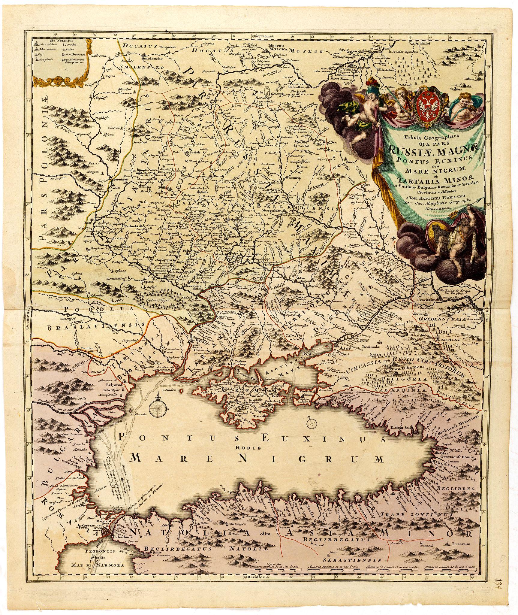 HOMANN, J.B. -  Tabula Geographica qua pars Russiae Magnae Pontus Euxinus seu Mare Nigrum et Tartaria Minor.