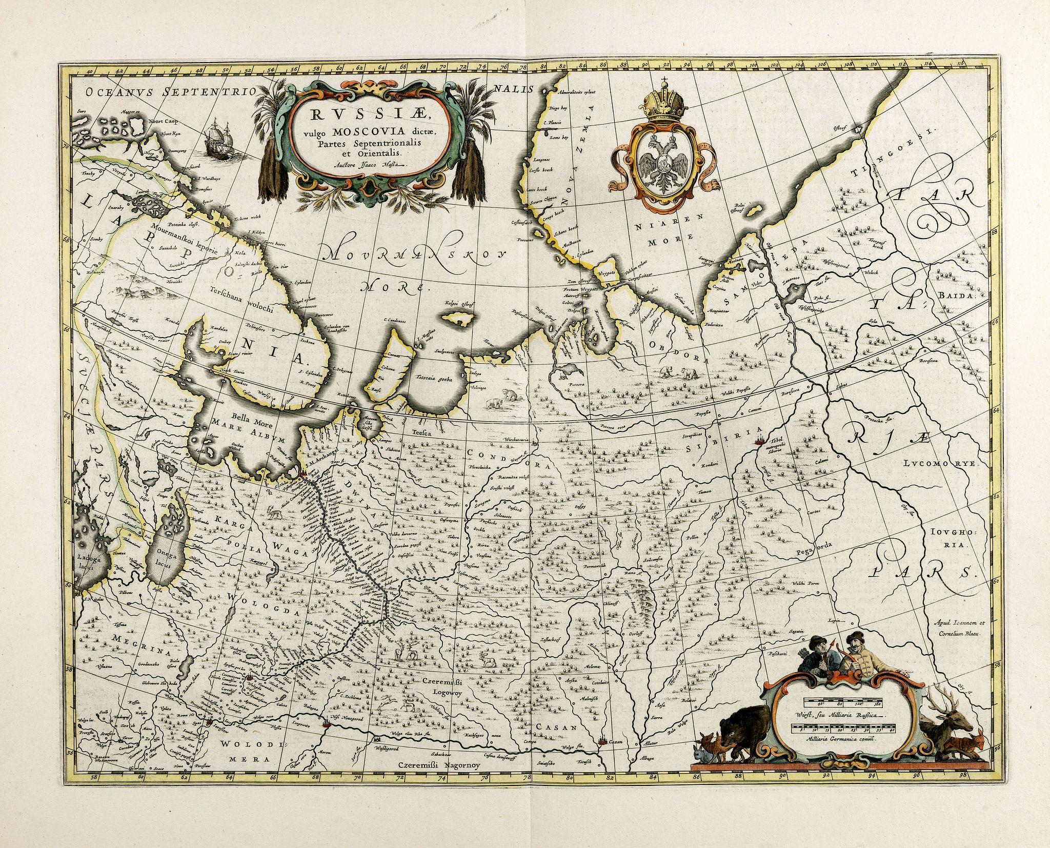 BLAEU, J. -  Russiae, vulgo moscoviae dictae, partes septentrionalis et orientalis.