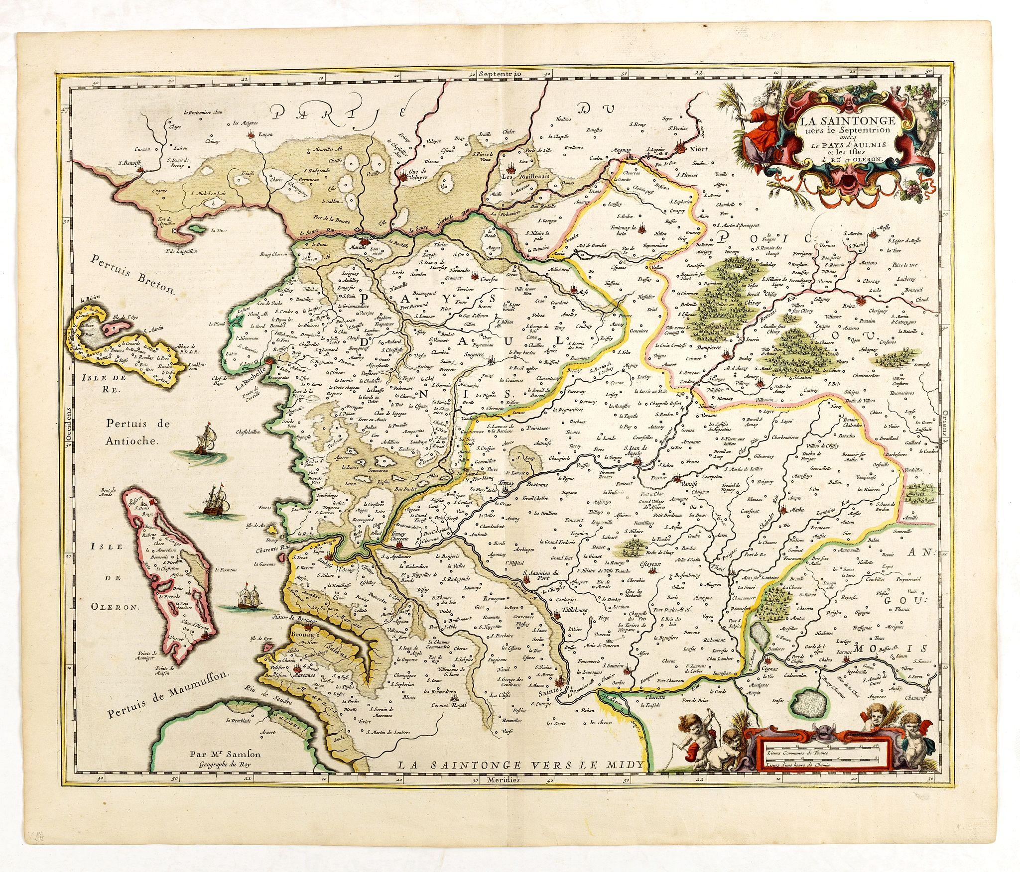 JANSSONIUS, J. -  La Saintonge vers le Septentrion avec le pays d'Aulnis et les iles de Ré et d'Olérons.