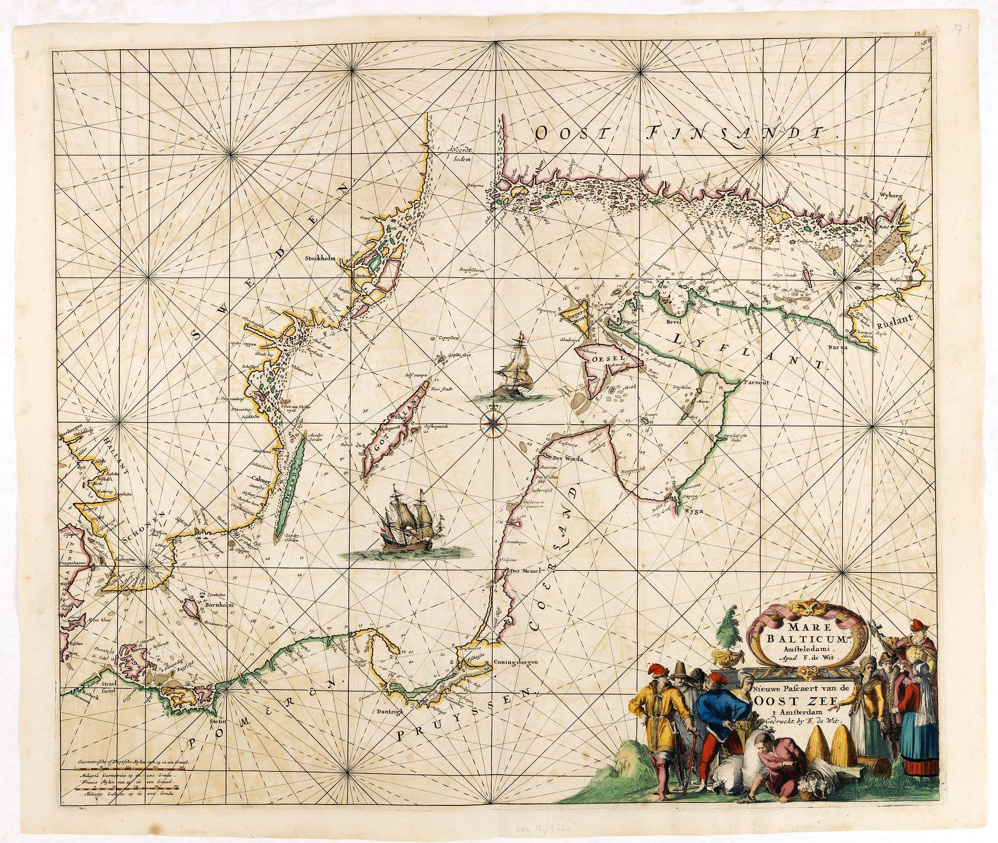 DE WIT, F. -  Mare Balticum. . . / Nieuwe Pascaert van de Oost Zee. . .