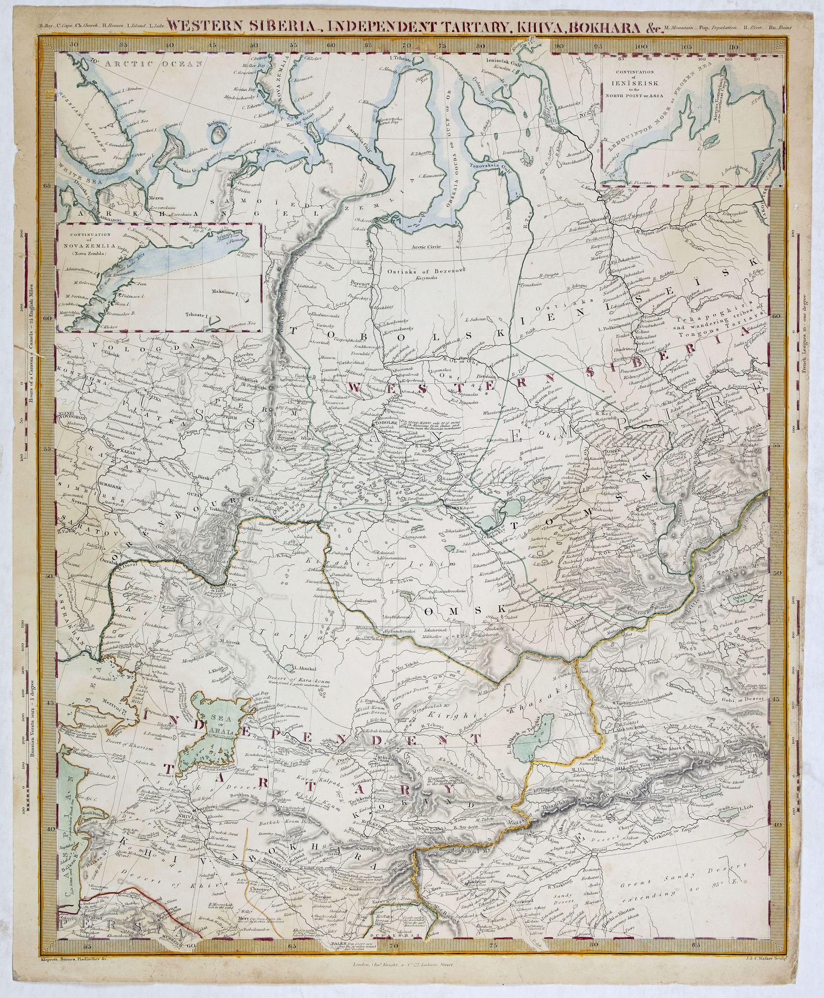WALKER, J & C. -  Western siberia, independent tartary, khiva, bokhara…..