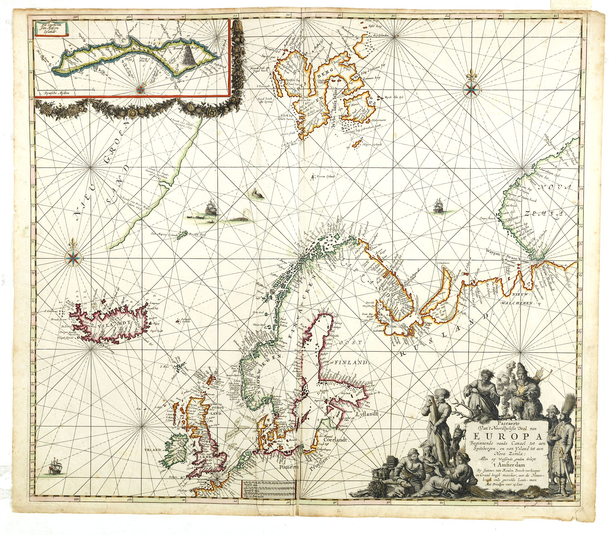 VAN KEULEN, J. -  Pascarte van Europa Beginnende vande Canael tot aen Spitbergen, en van Ysland tot aen Nova Zemla . . .
