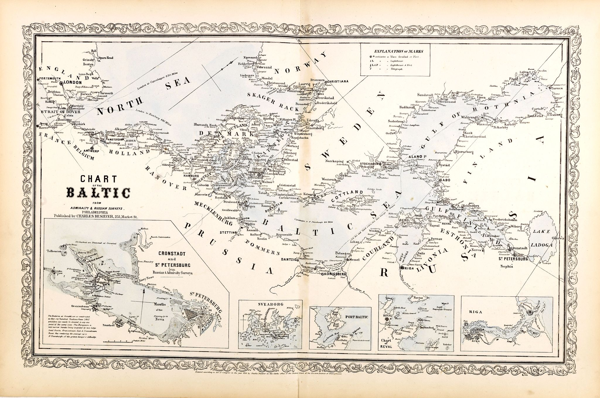 DE SILVER, C. / MITCHEL, S.A. -  Chart of the Baltic from admiralty & Russian surveys.
