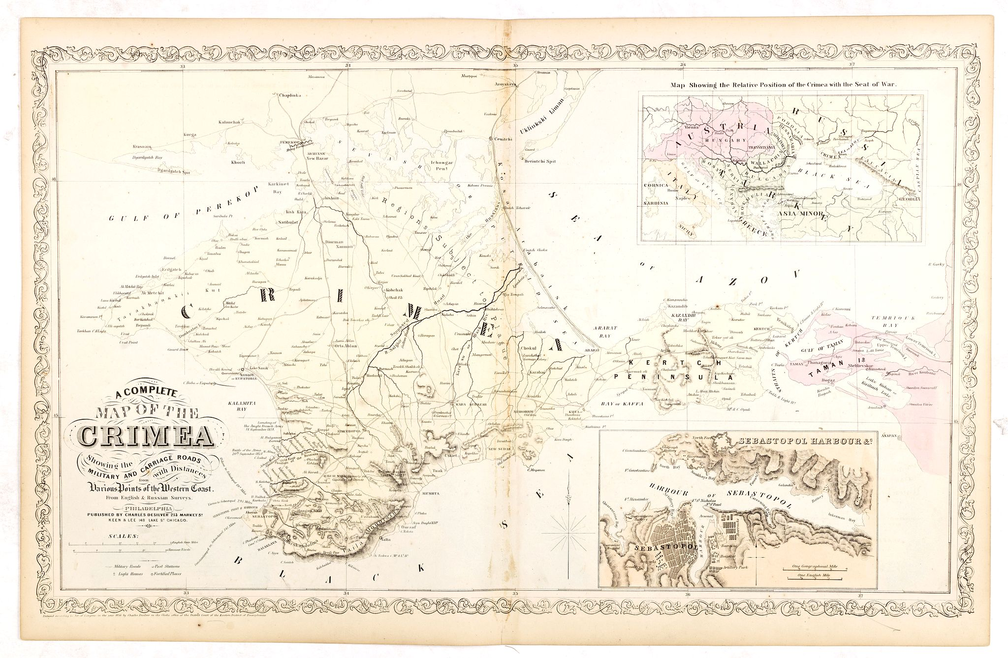 DE SILVER, C. / MITCHEL, S.A.,  A Complete Map of the Crimea Showing the Military and Carriage Roads with Distances from Various Points of the Western Coast From English & Russian Surveys. . ., antique map, old maps