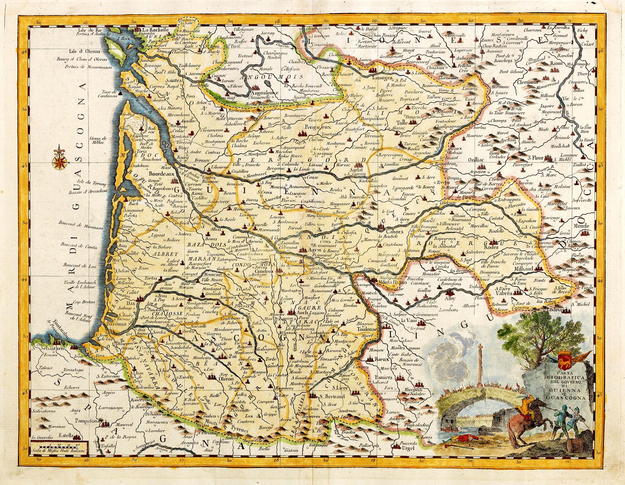 SALMON, Th. / ALBRIZZI, G. B. -  Carta geografica del governo di Guienna e Guascogna.