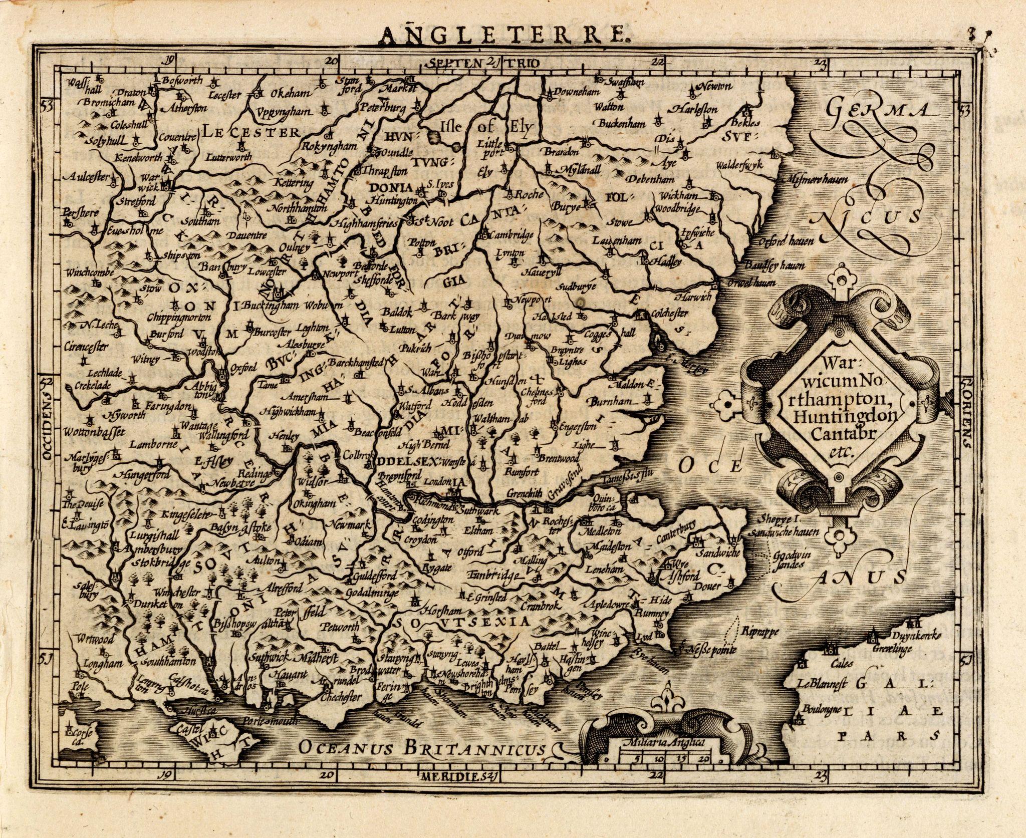 MERCATOR,G./ HONDIUS,J. -  Warwicum Northampton, Huntingdon Cantabr etc.