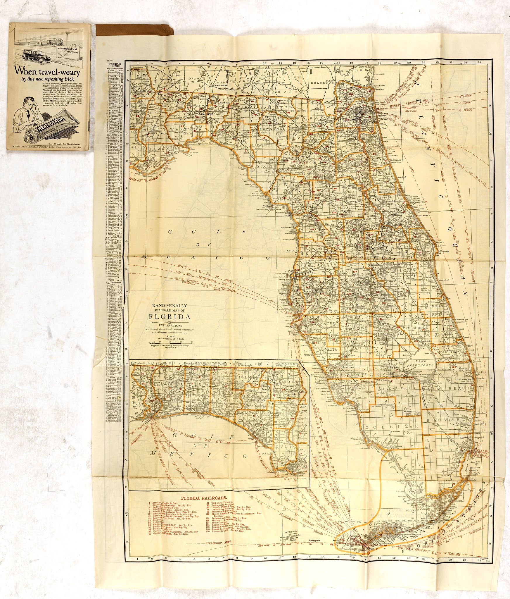 RAND MCNALLY & CO.,  Rand Mc.Nally indexed pocket map Tourits' and Shipper' Guide of Florida. . ., antique map, old maps