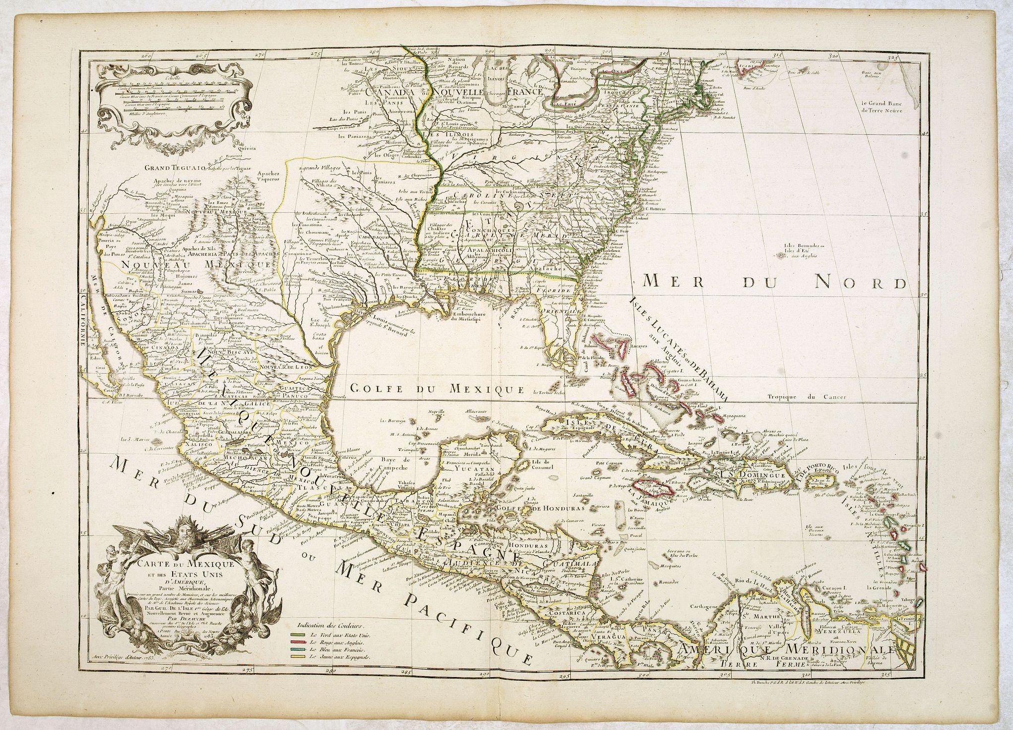 L'ISLE, G. de. / DEZAUCHE. -  Carte du Mexique et des Etats Unis d'Amérique…