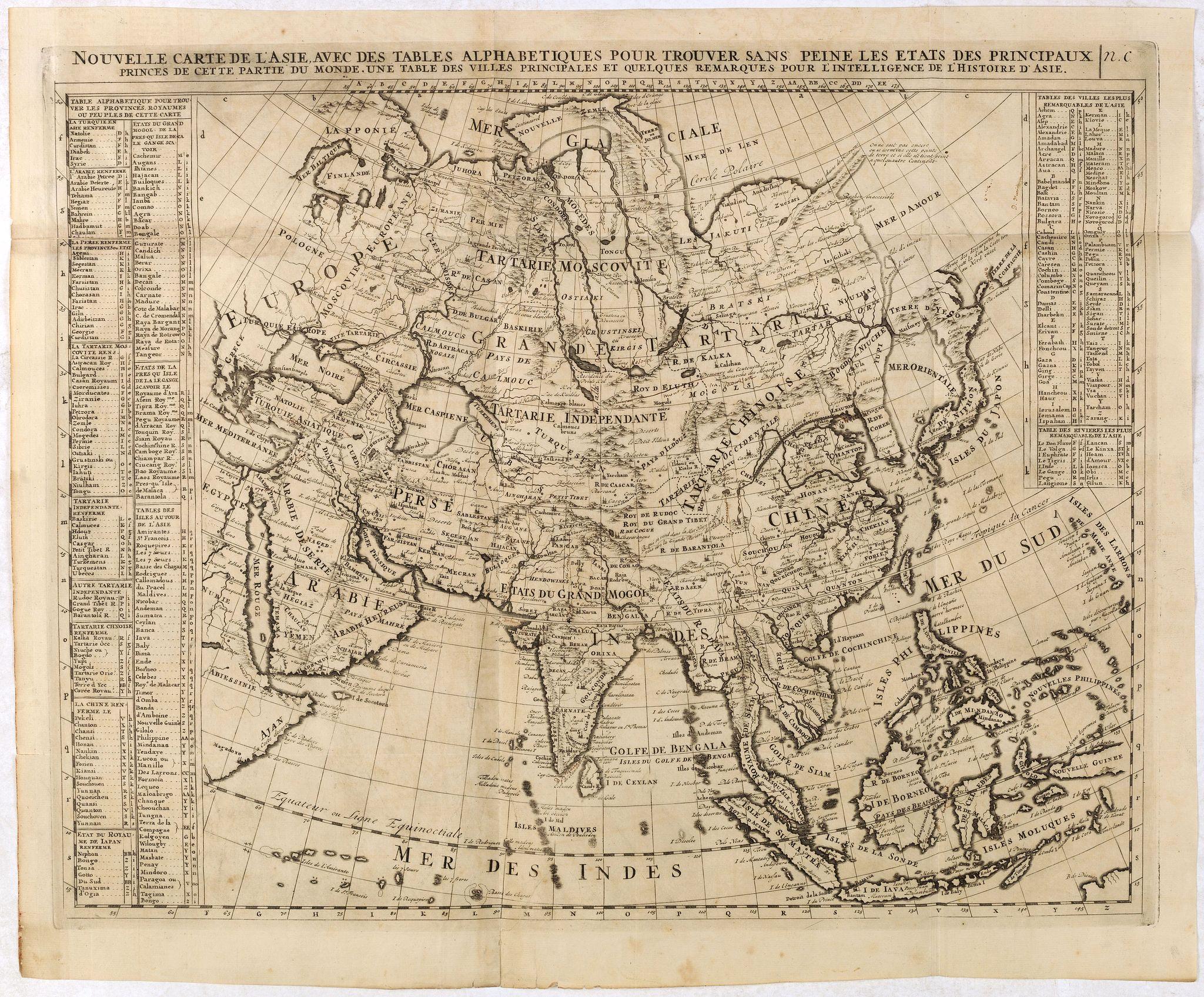 CHATELAIN, H. -  Nouvelle Carte De L'Asie Avec Des Tables Alphabetiques Pour Trouver Sans Peine Les Etats Des Principaux Princes De Cette Partie Du . . .