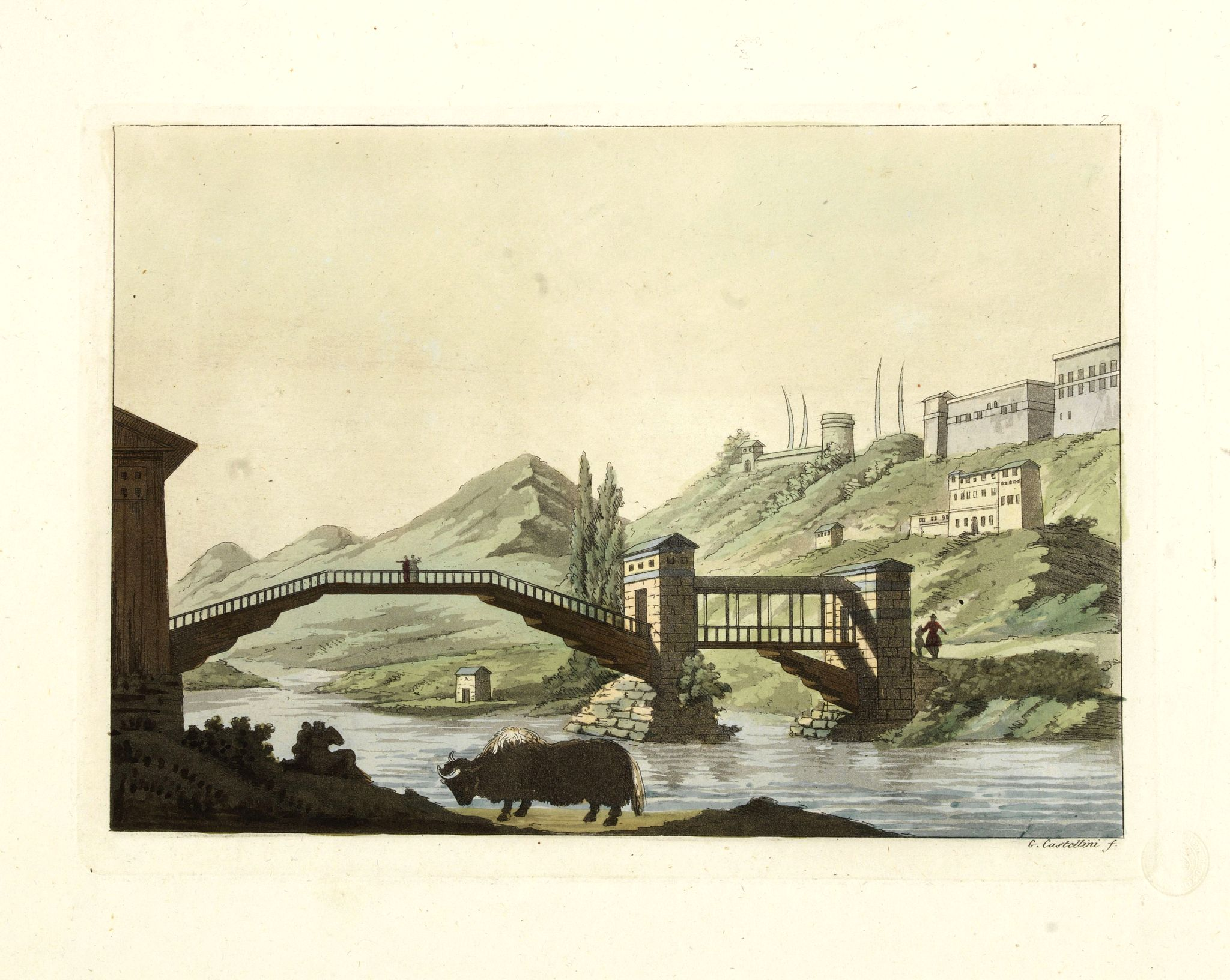 FERRARIO, G.,  [View of Castle and Bridge Vandipore - Bhutan - Tibet ], antique map, old maps