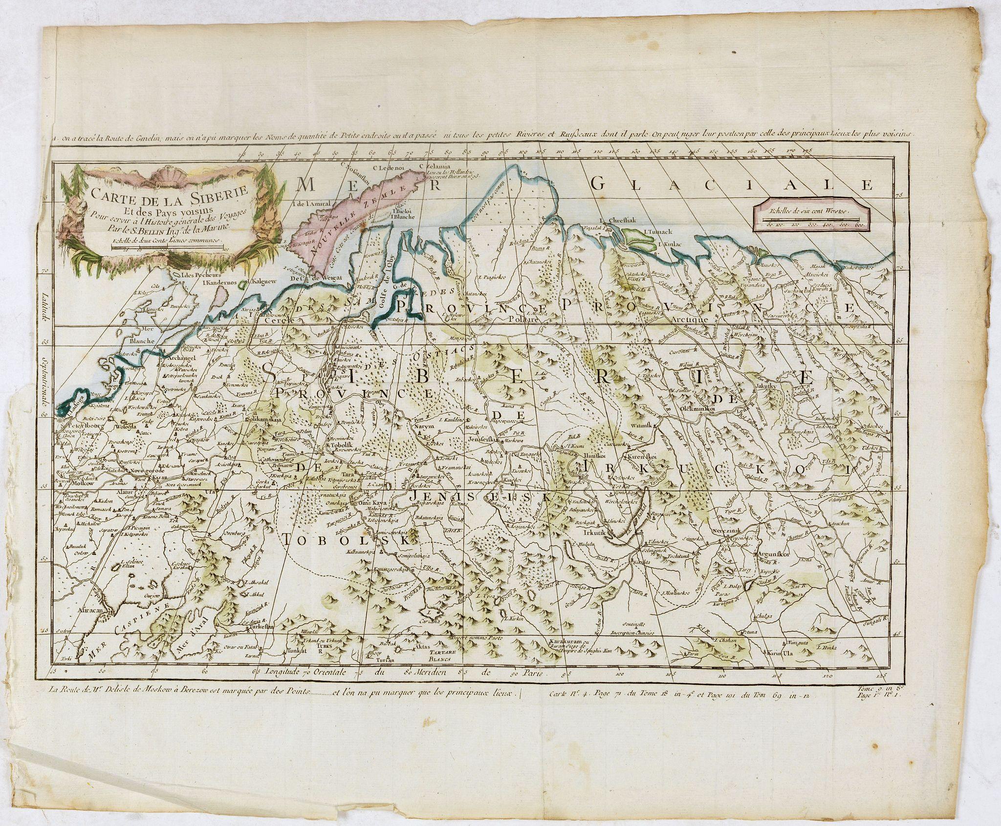 BELLIN, J.N. -  Carte de la sibérie et des Pays voisins.