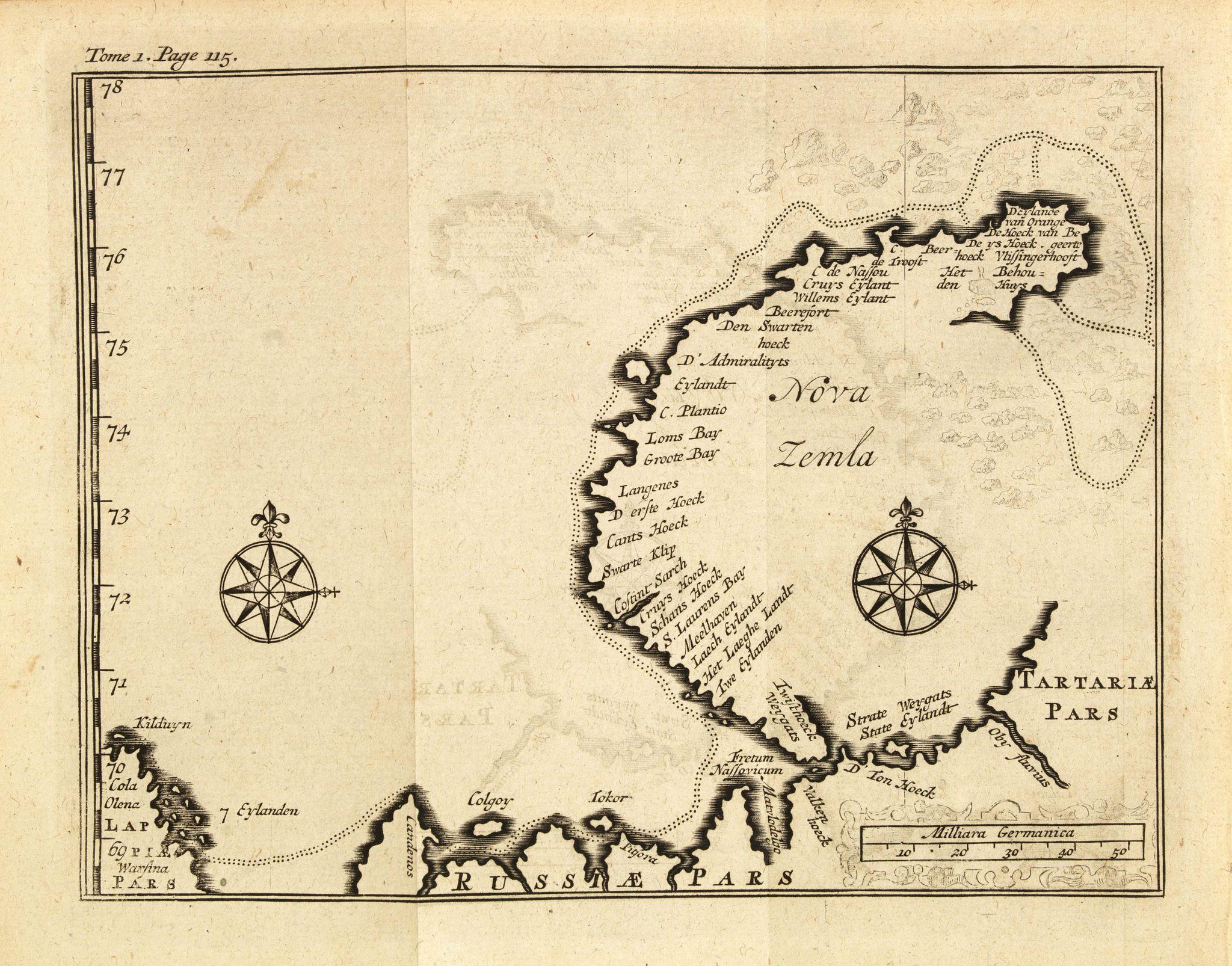 DE RENNEVILLE, R.A.C. -  (Map of Nova Zembla with inset of Baye de Loms.)