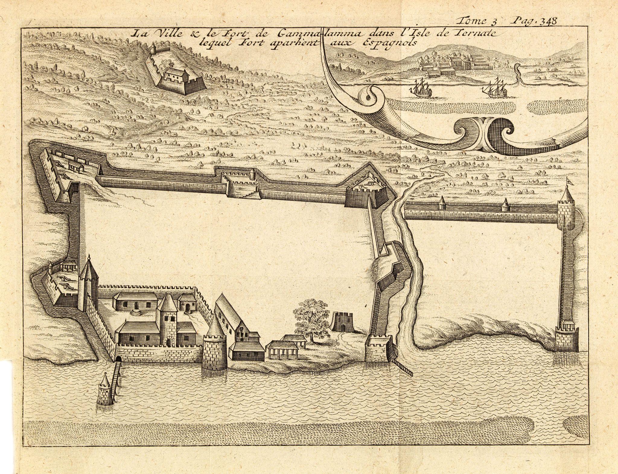 DE RENNEVILLE, R.A.C. -  La ville et le fort de Gamma-Lamma dans l'isle de Ternate lequel fort apartient aux Espagnols.