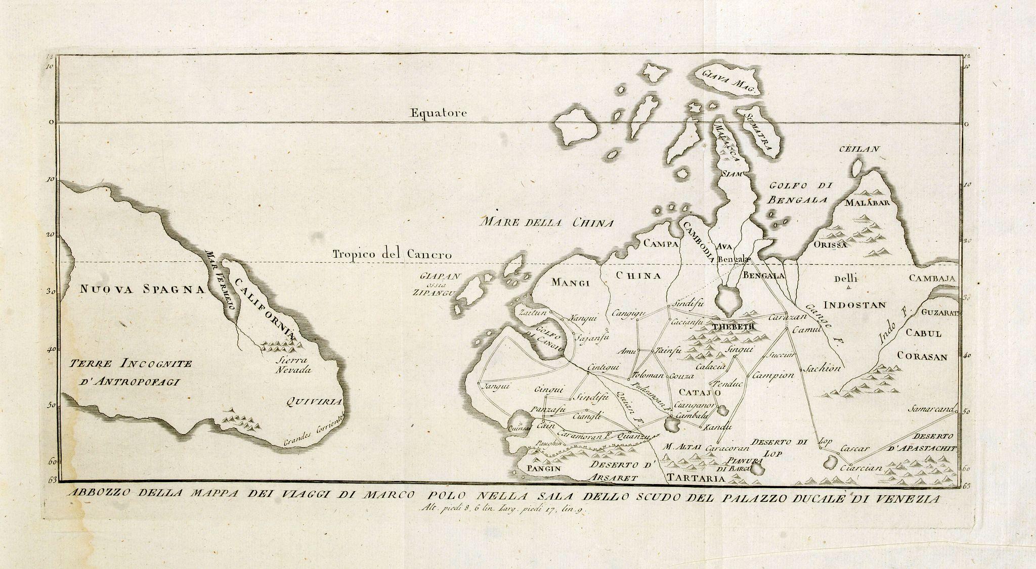 ZURLA, P. -  Abbozzo della mappa dei viaggi di Marco Polo nella sala dello Scudo del Palazzo ducale di Venezia.