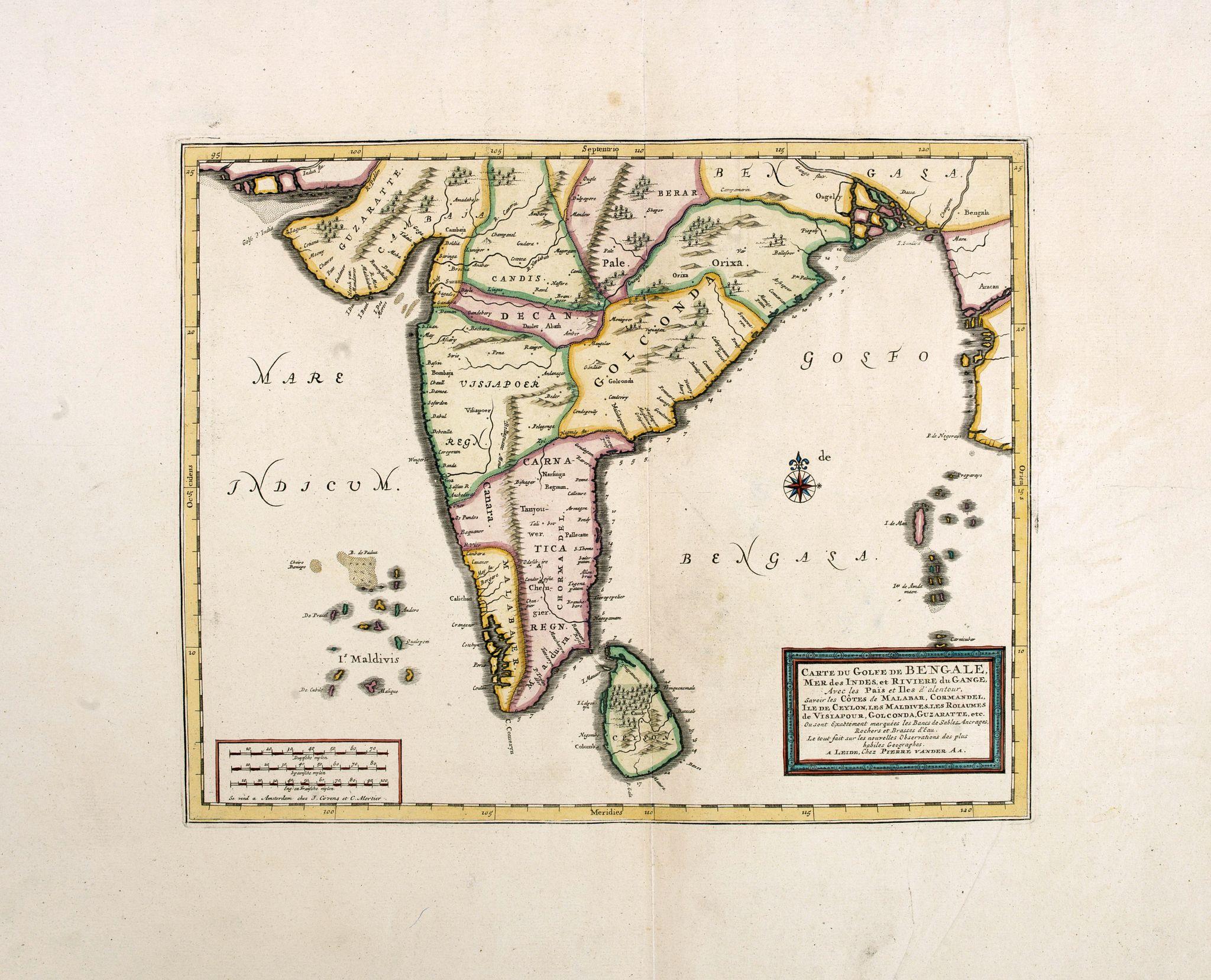 VANDER AA, P. -  Carte du Golfe de Bengale, Mer de Indes, et Riviere du Gange, Avec les Pais et Iles d'alentour, Savoir les Cotes de Malabar, Cormandel, Ile de Ceylon, Les Maldives . . .