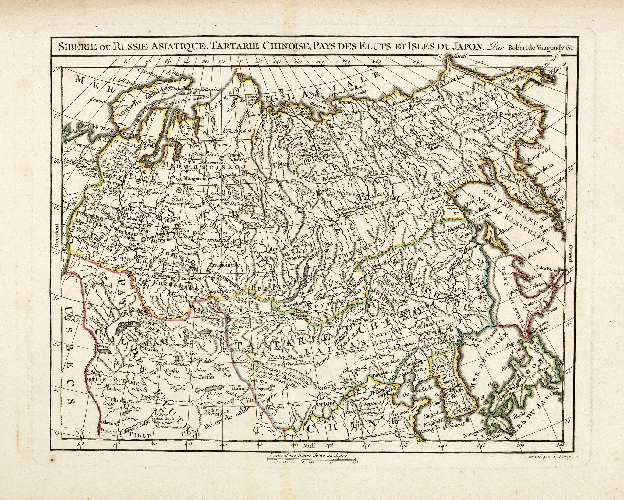 VAUGONDY, R. de / DELAMARCHE -  Siberie ou Russie Asiatique, Tartarie Chinoise, Pays des Eluts et Isles du Japon.