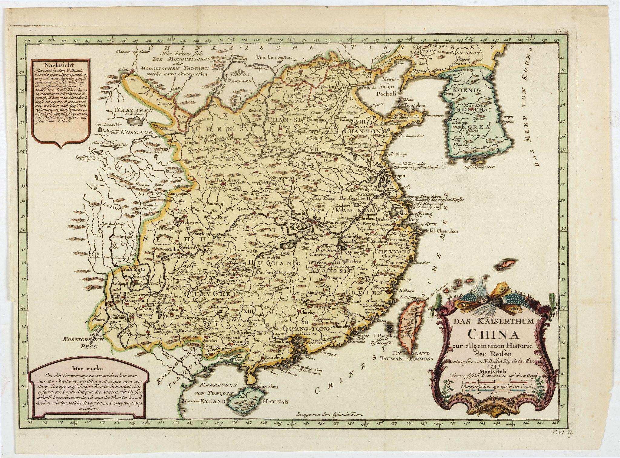 BELLIN, J.N. -  Das Kaiserthum China zur allgemeinen Historie der Reisen - entworfen von N. Bellin Ing. De la Mar. 1748.