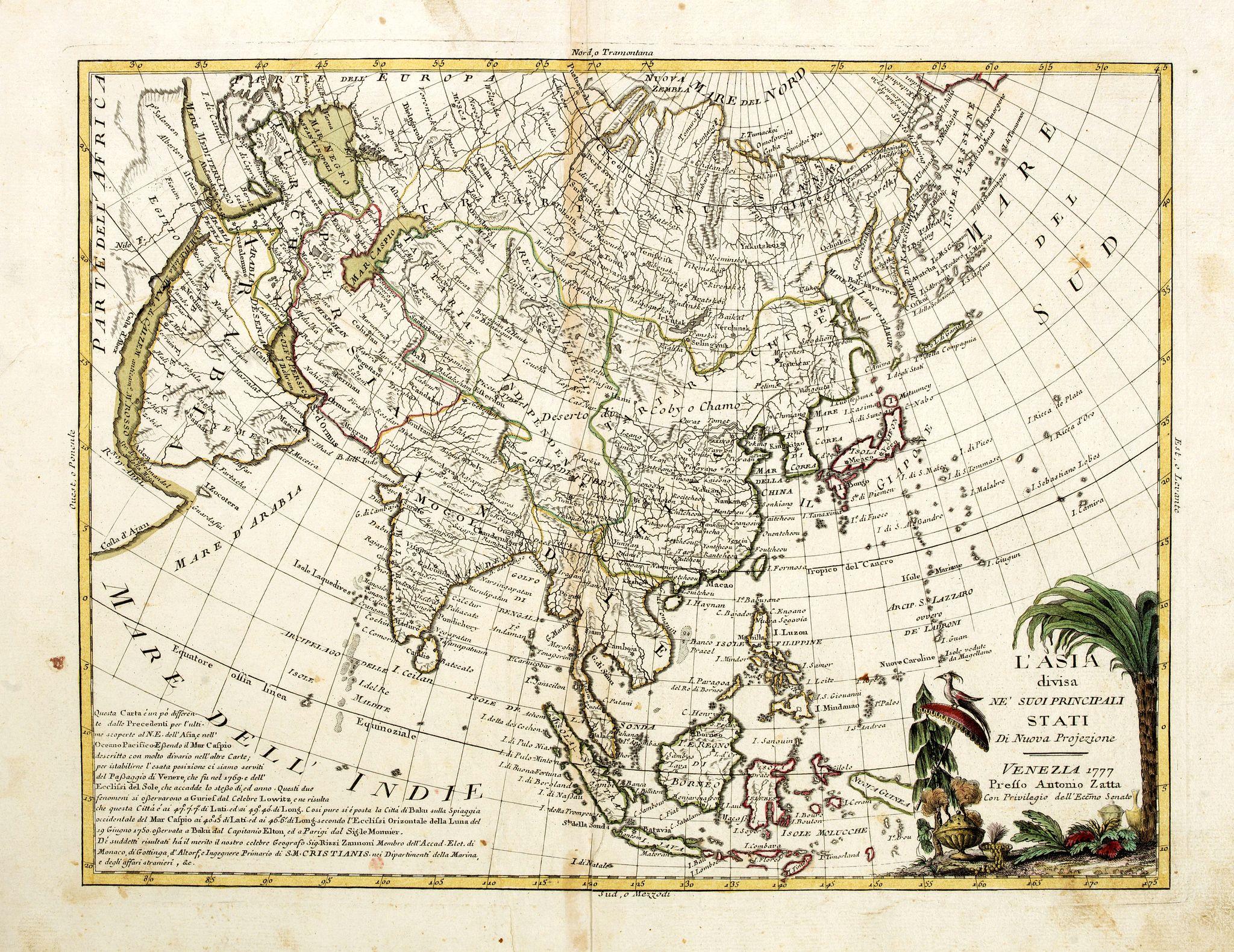 ZATTA, A. -  L'Asia divisa ne' suoi principali stati di nuova projezione.