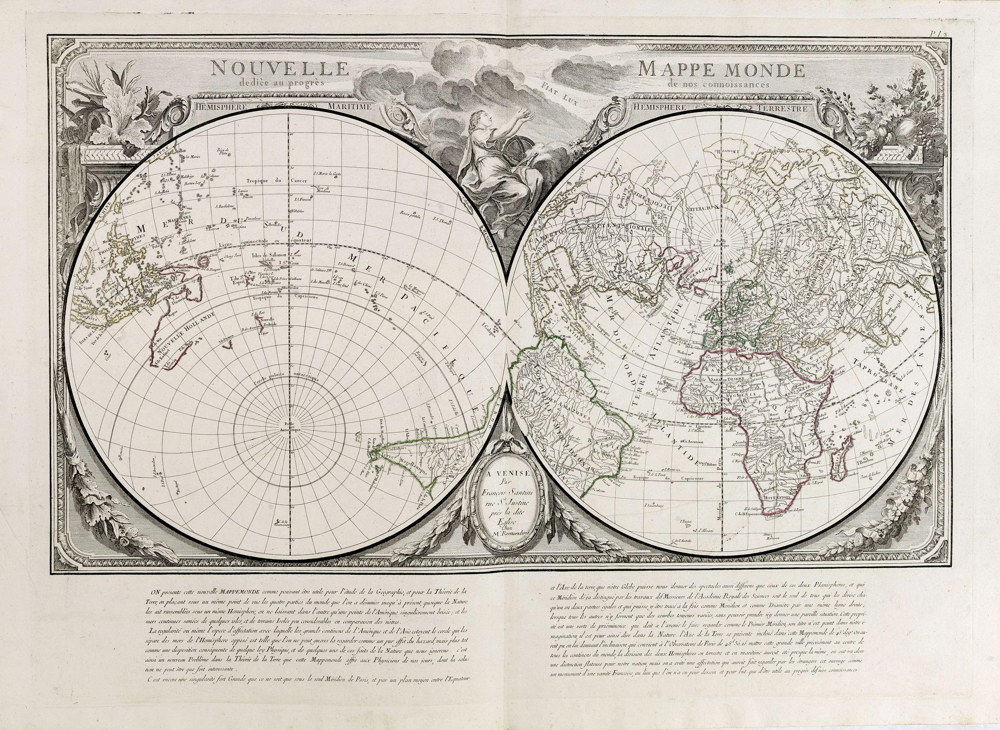 SANTINI, P. / REMONDINI, M. -  Nouvelle Mappe Monde dediee au progres de nos connoissances.
