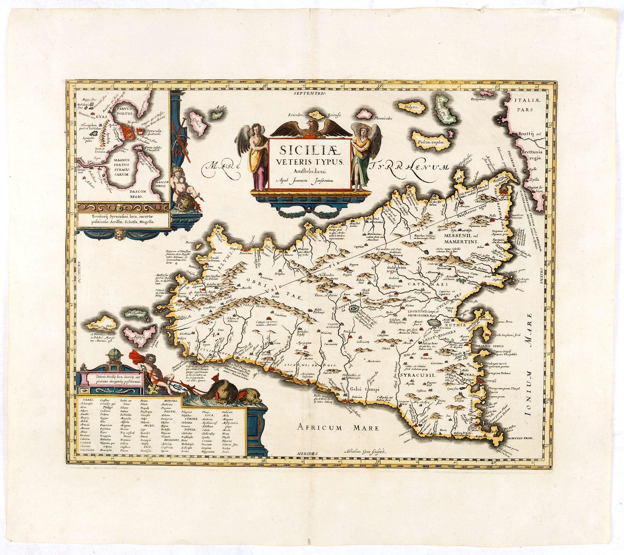 JANSSONIUS, J. -  Siciliae veteris typus.