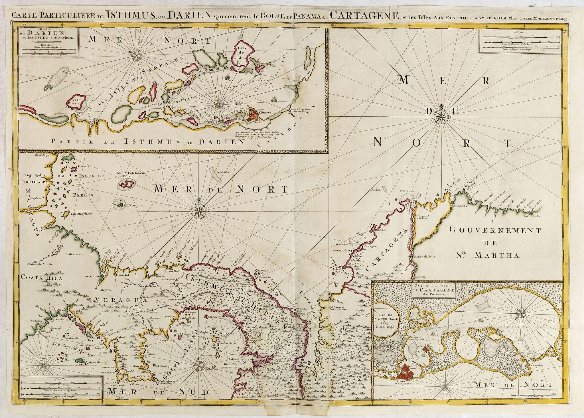 MORTIER, P. -  Carte Particuliere de Isthmus ou Darien qui Comprend le Golfe de Panama &c. Cartagena, et les Isles aux Environs.