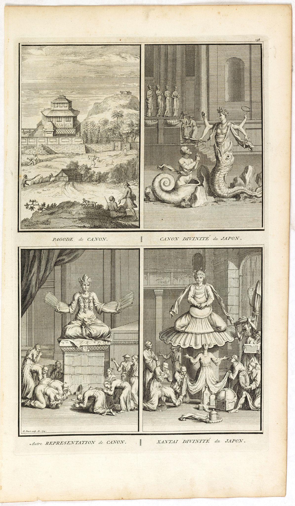PICART, B. -  Pagode de Canon/ Canon divinité du Japon/ Autre représentation de Canon/ Xantai divinité du Japon.