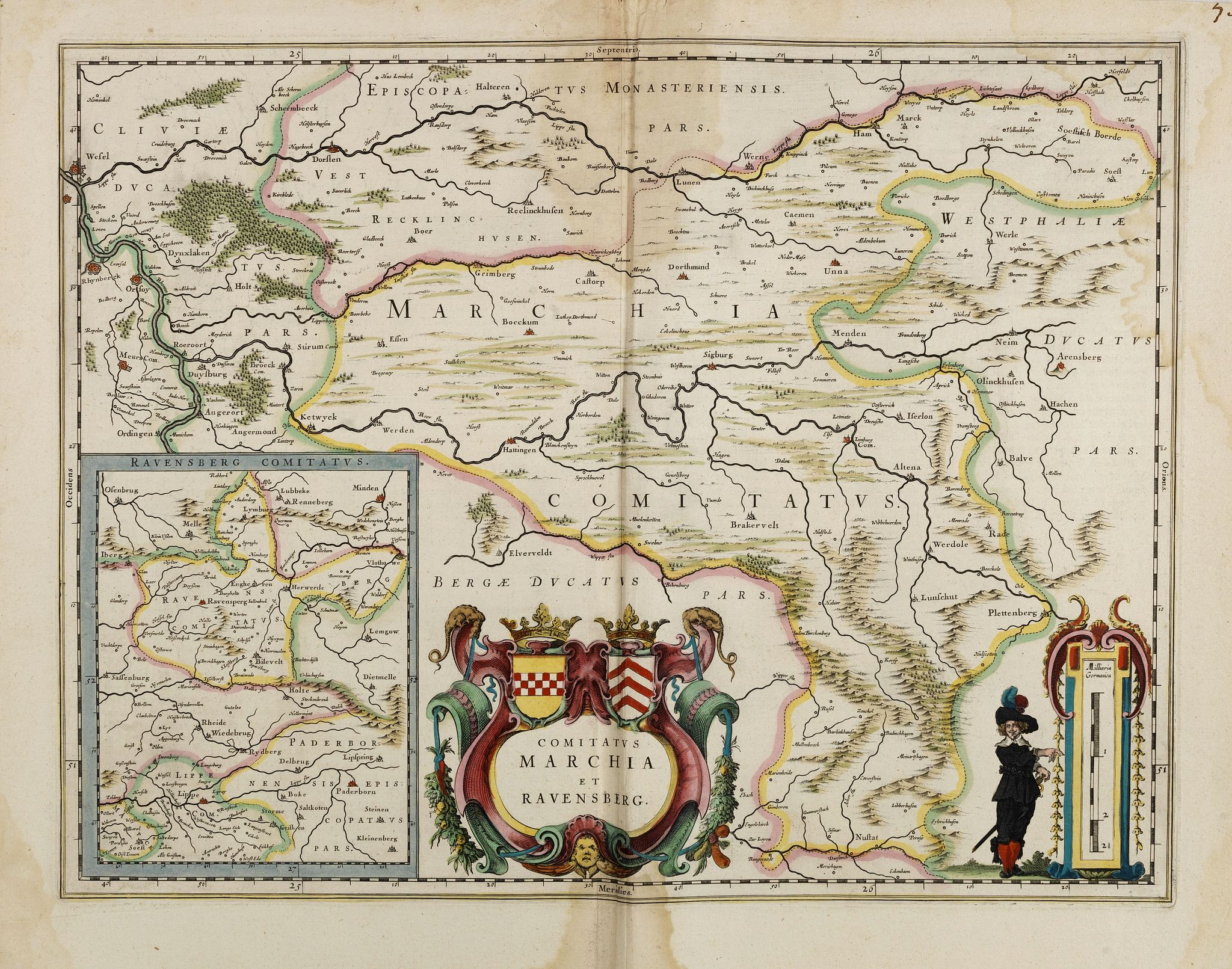 BLAEU, J.,  Comitatus Marchia et Ravensberg., antique map, old maps