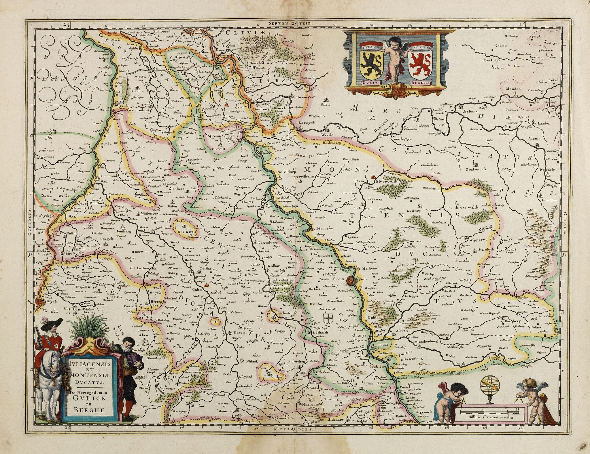 BLAEU, W.,  Juliacensis et Montensis Ducatus/ De Hertoghdomen Gulick. . ., antique map, old maps