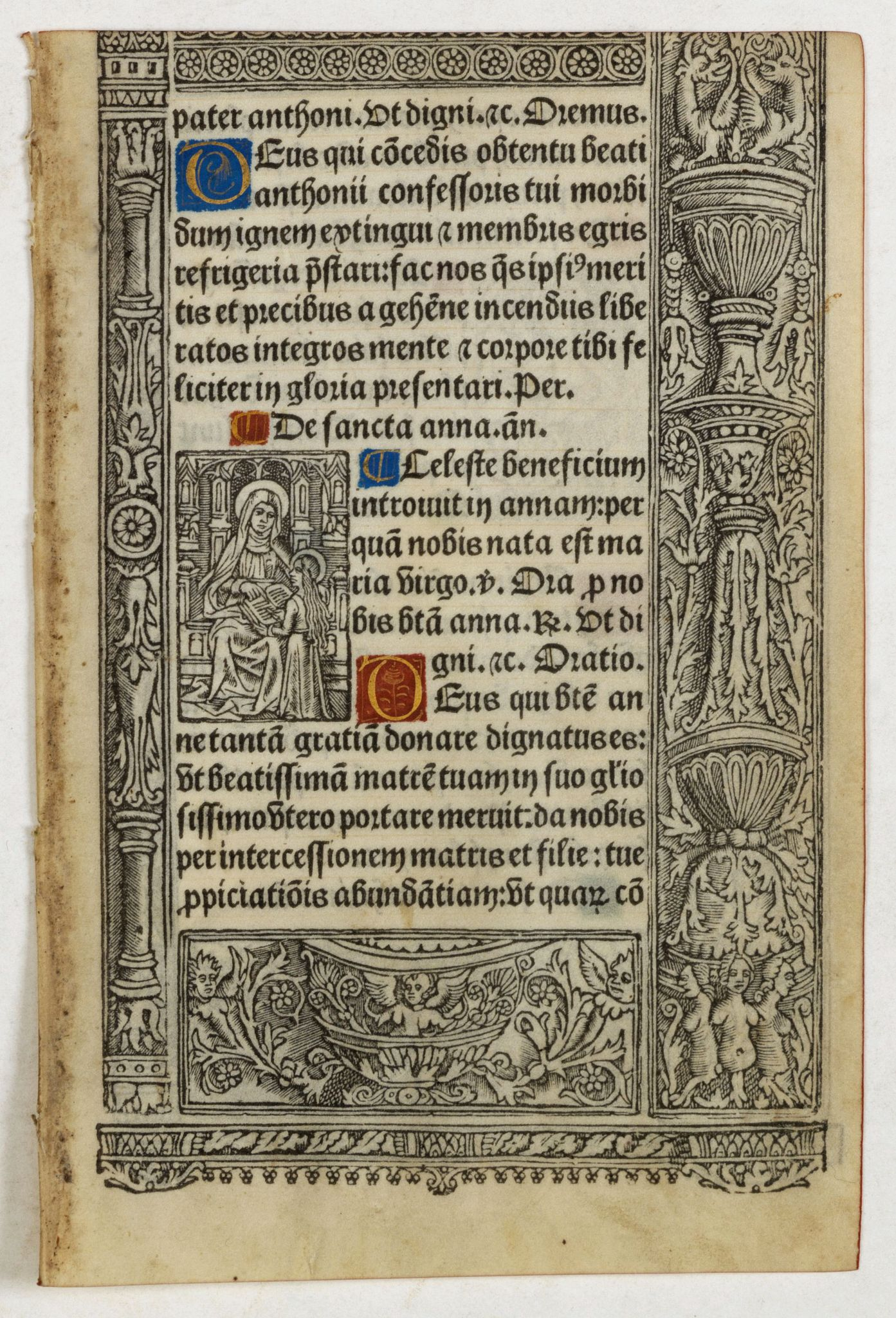 BOOK OF HOURS -  A printed leaf from a Book of Hours.