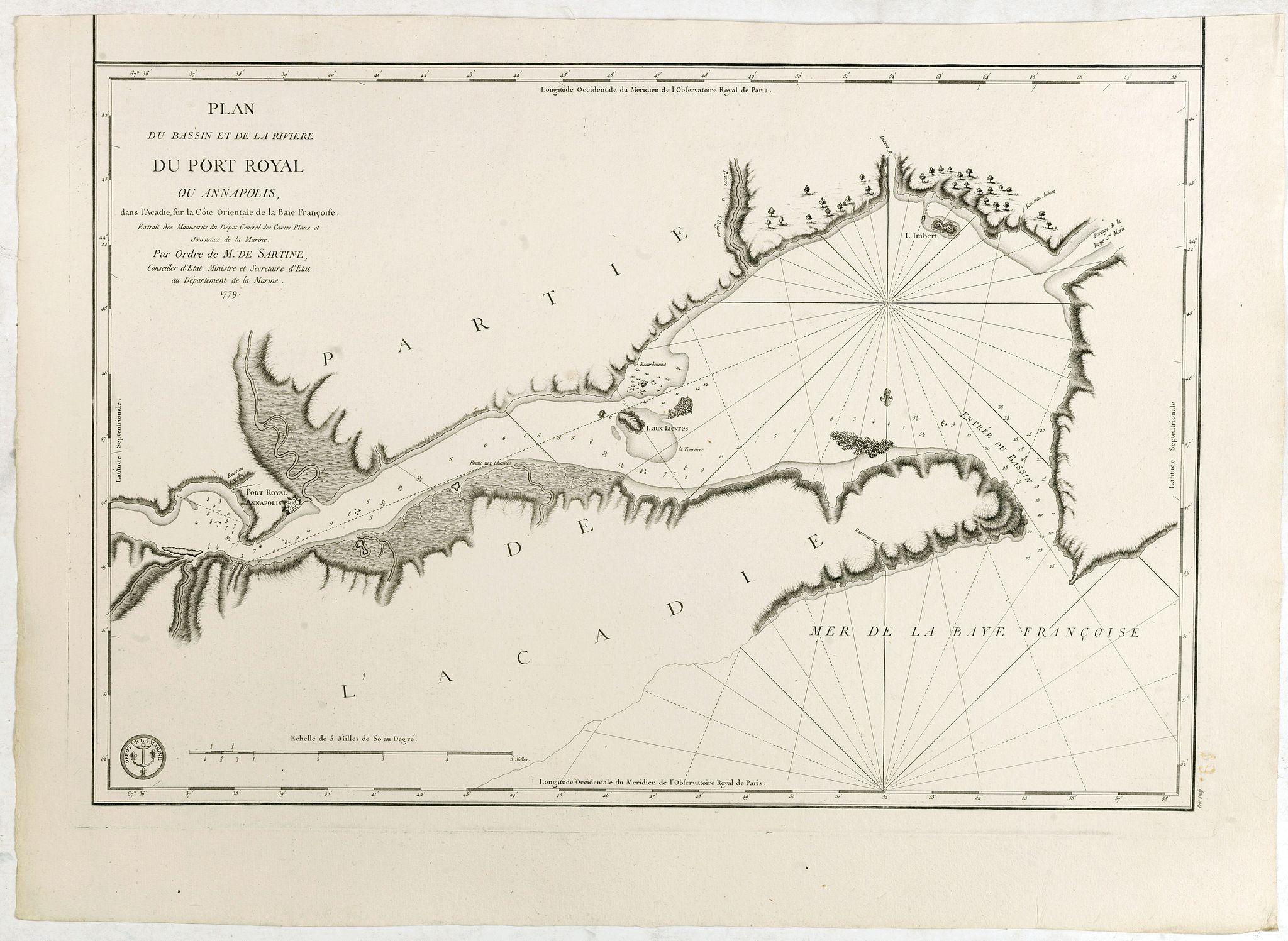 DEPOT GÉNÉRAL DE LA MARINE -  Plan du Bassin et de la Riviere du Port Royal ou Annapolis, dans l'Acadie sur la Cote Orientale de la Baie Francois . . .