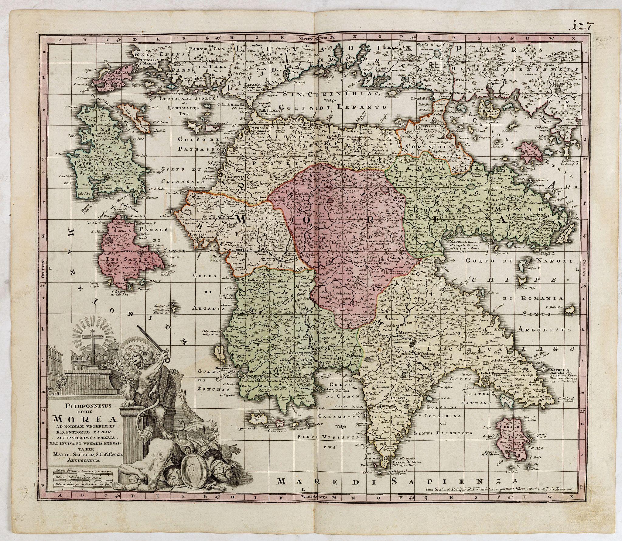 SEUTTER, M. -  Peloponnesus Hodie Morea Ad Normam Veterum Et Recentiorum Mappa Accuratissime Adornata Aeri Incisa Et Venalis. . .